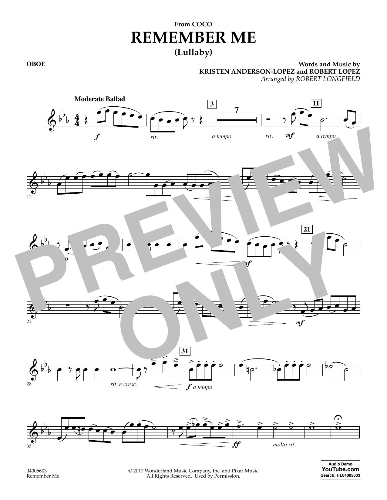 Remember Me - Oboe (Concert Band)