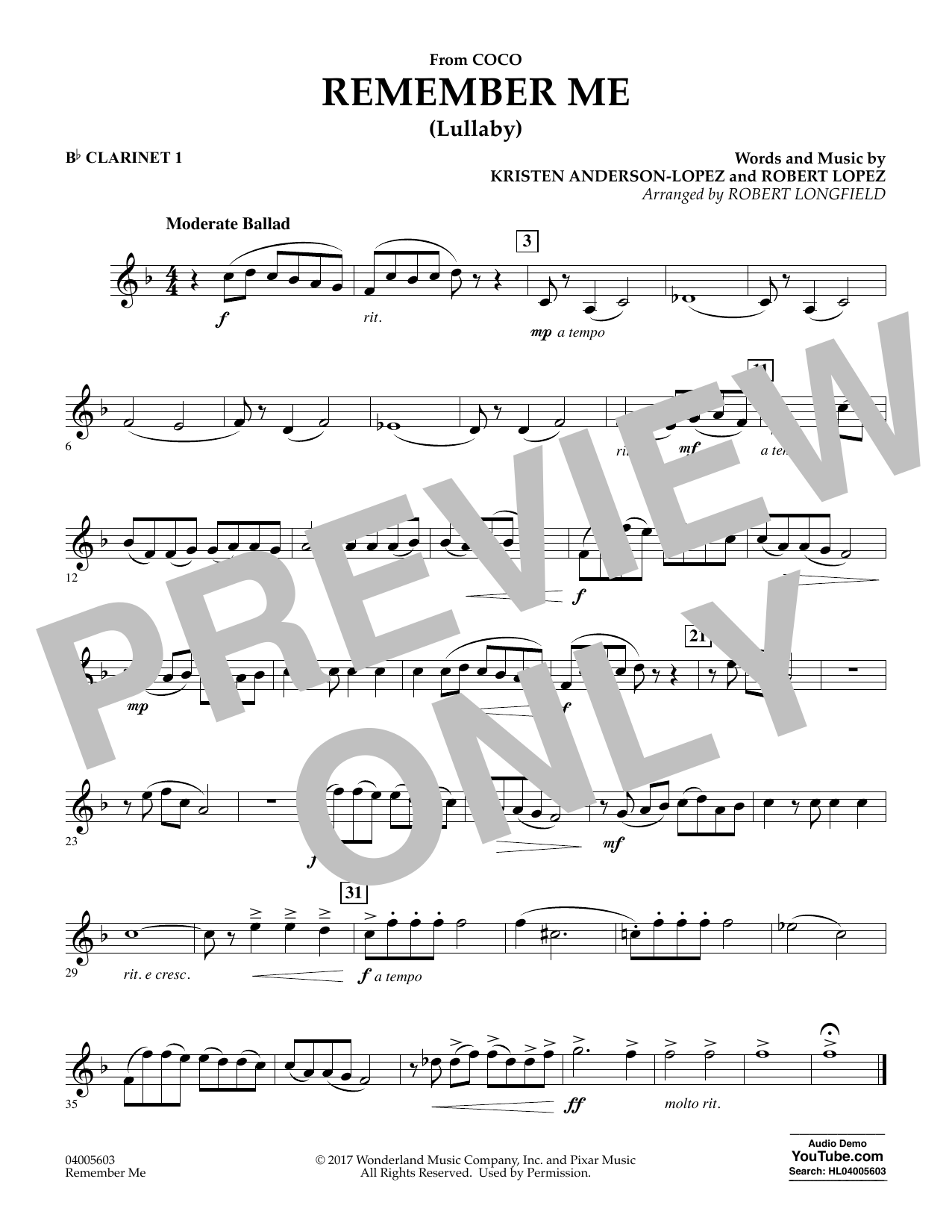 Remember Me - Bb Clarinet 1 (Concert Band)