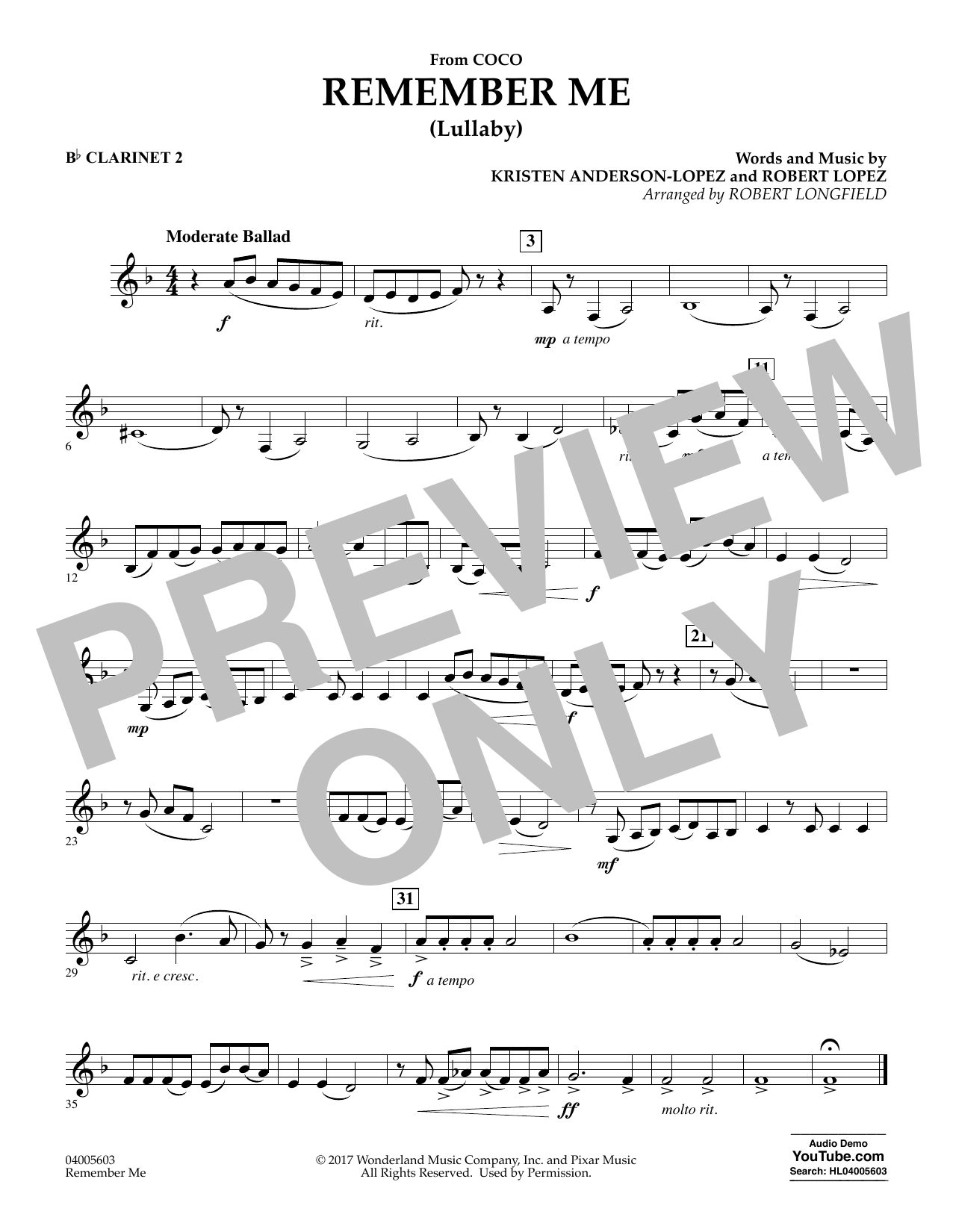 Remember Me - Bb Clarinet 2 (Concert Band)