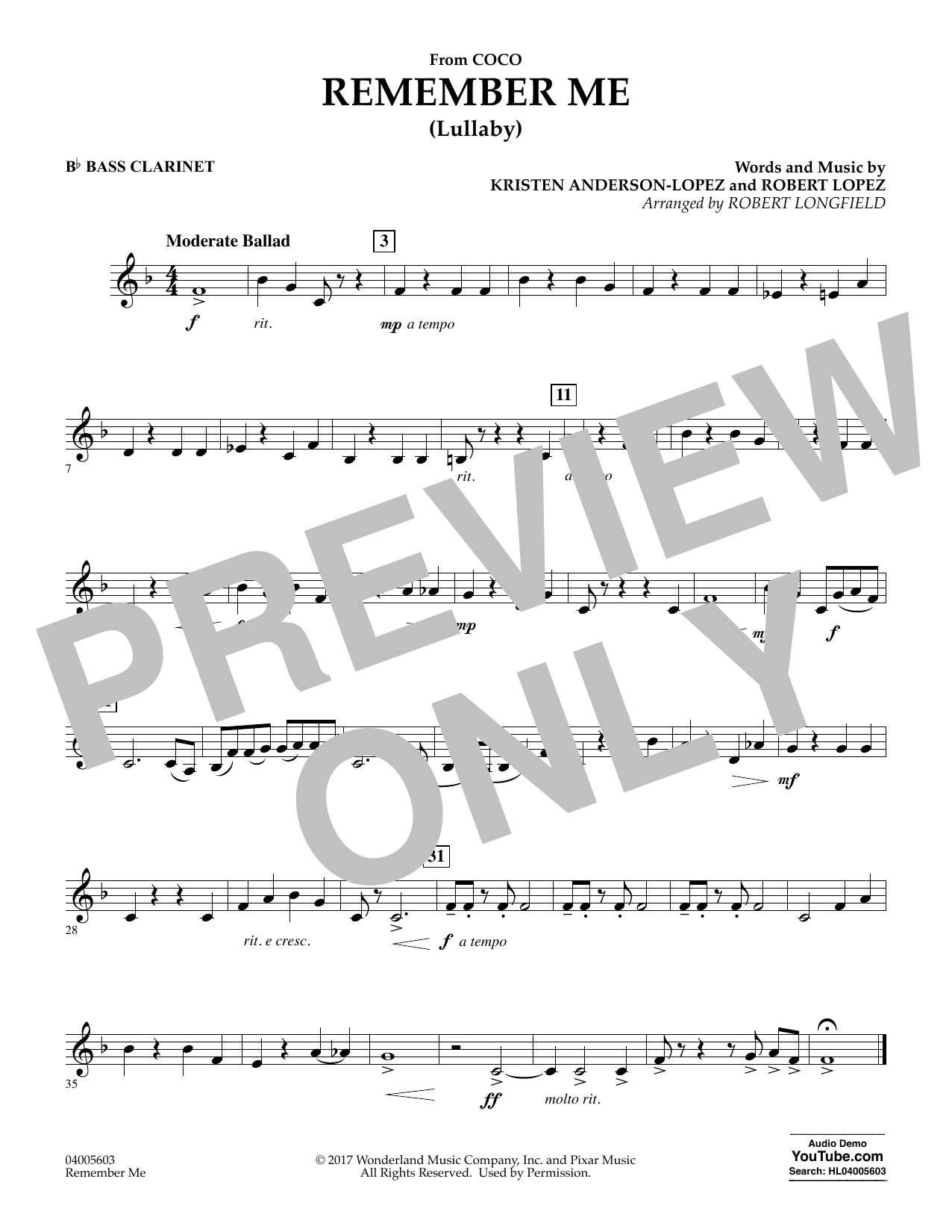 Remember Me - Bb Bass Clarinet (Concert Band)