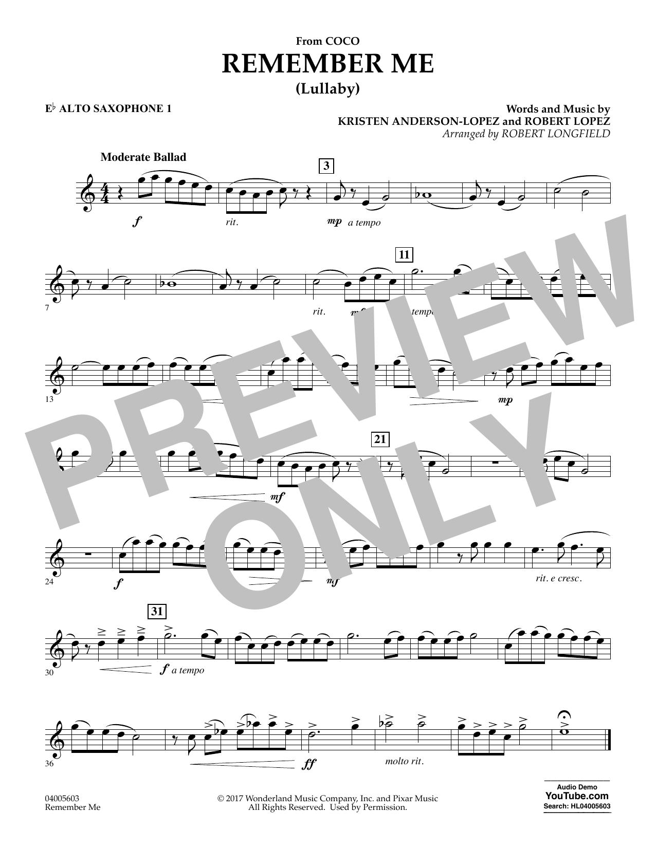 Remember Me - Eb Alto Saxophone 1 (Concert Band)