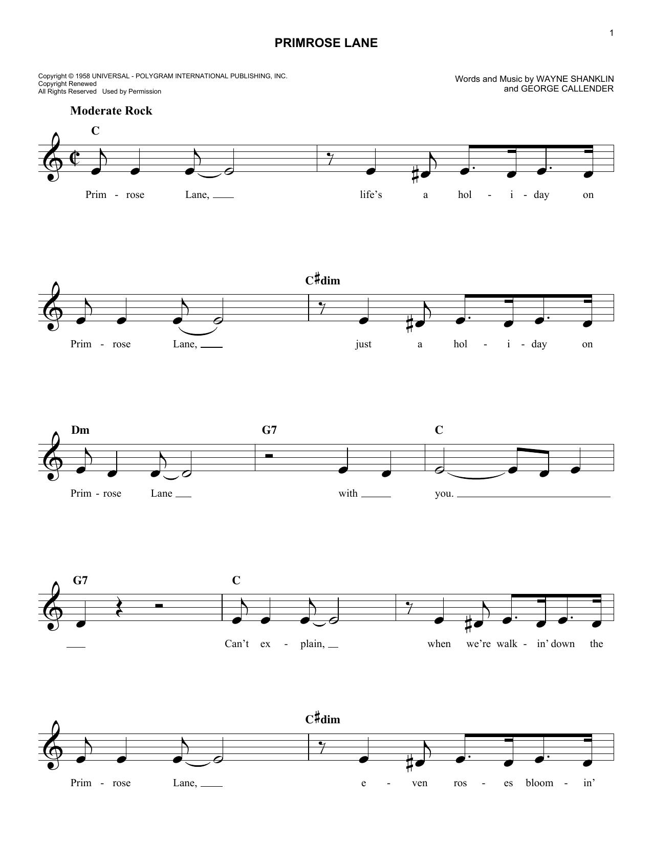 Primrose Lane Sheet Music