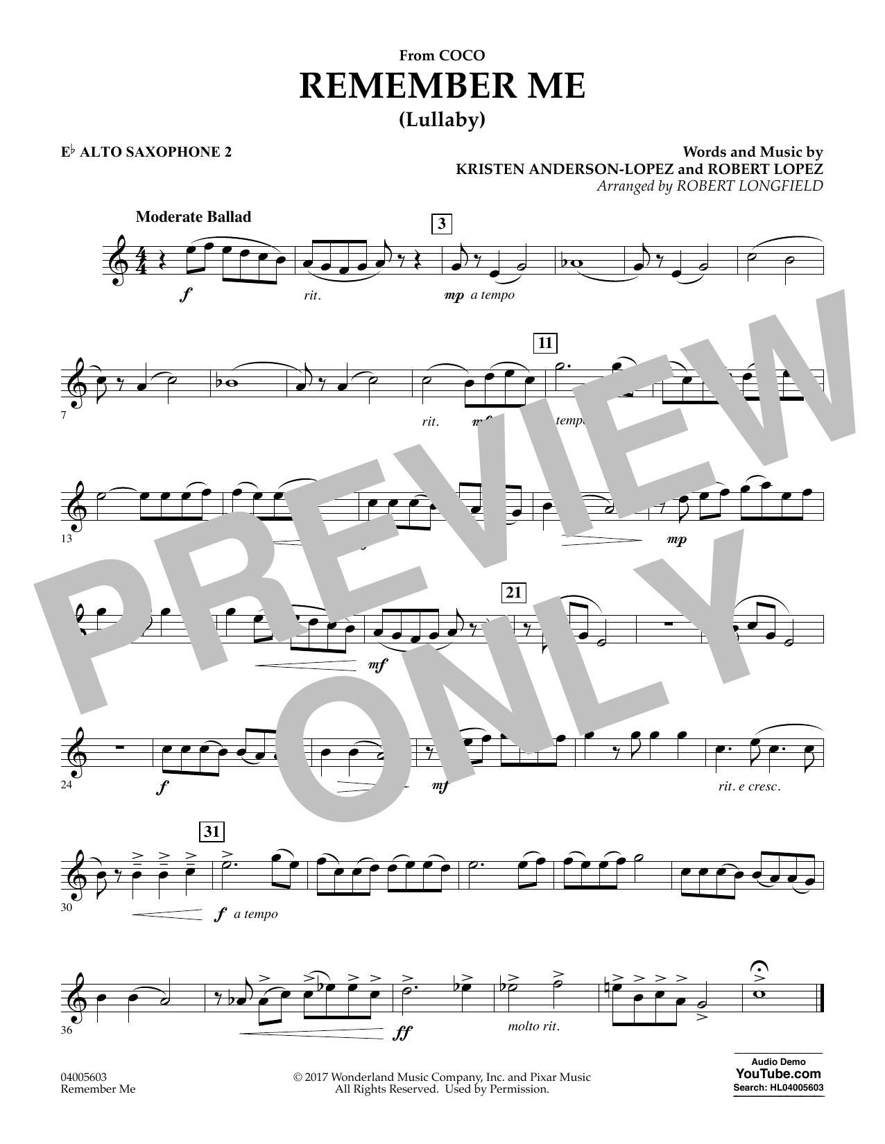 Remember Me - Eb Alto Saxophone 2 (Concert Band)