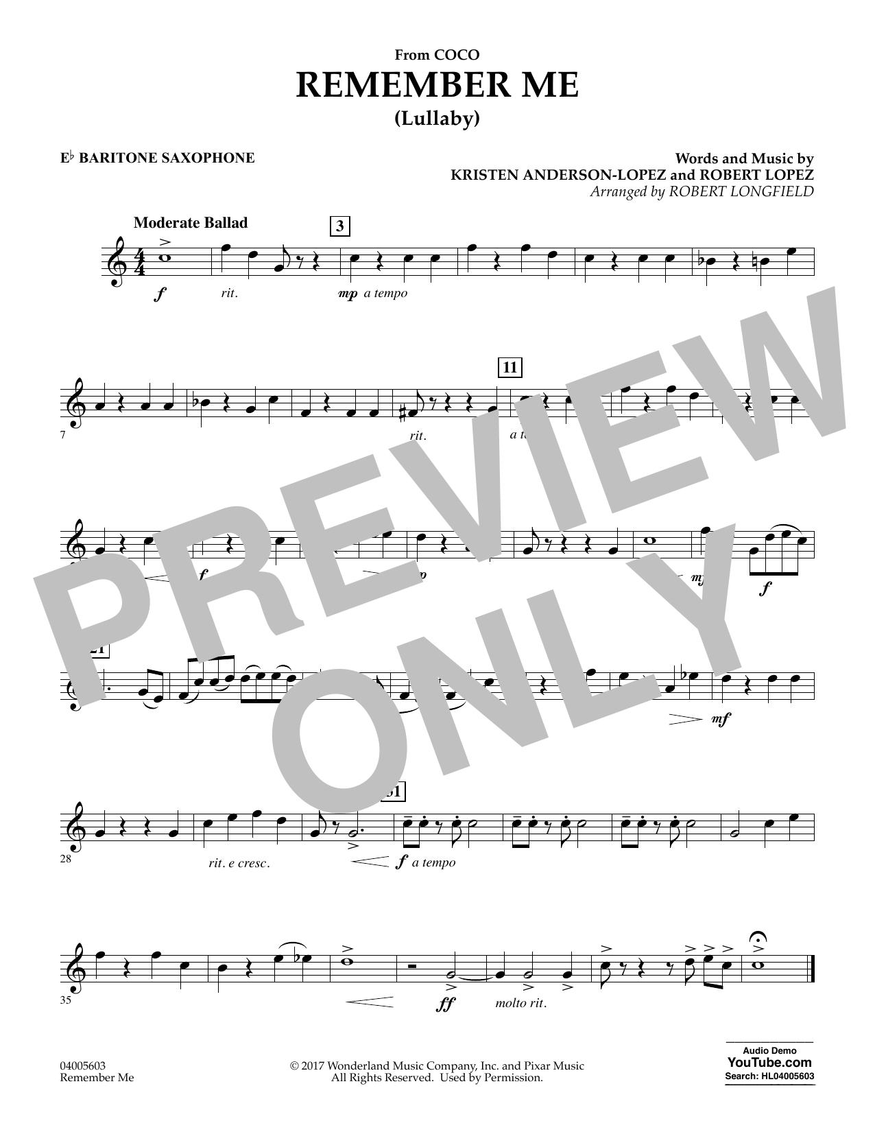 Remember Me - Eb Baritone Saxophone (Concert Band)