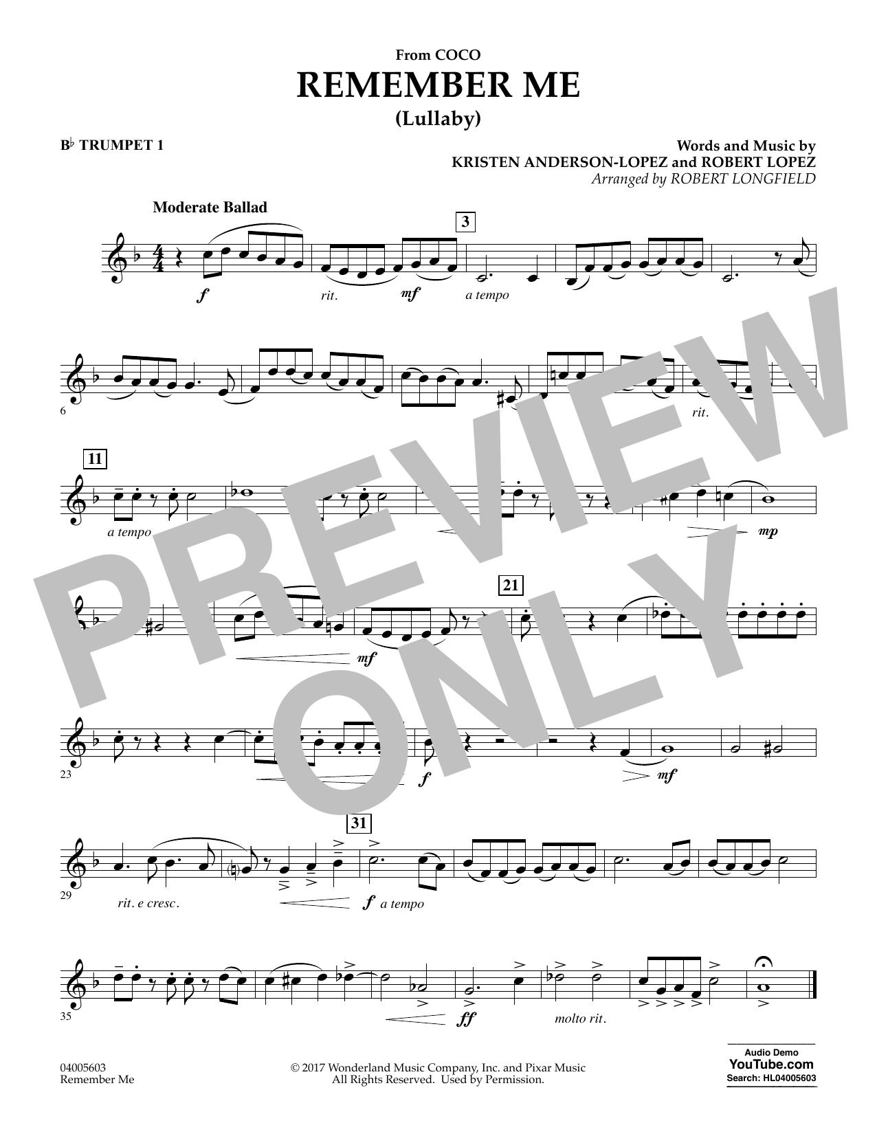 Remember Me - Bb Trumpet 1 (Concert Band)