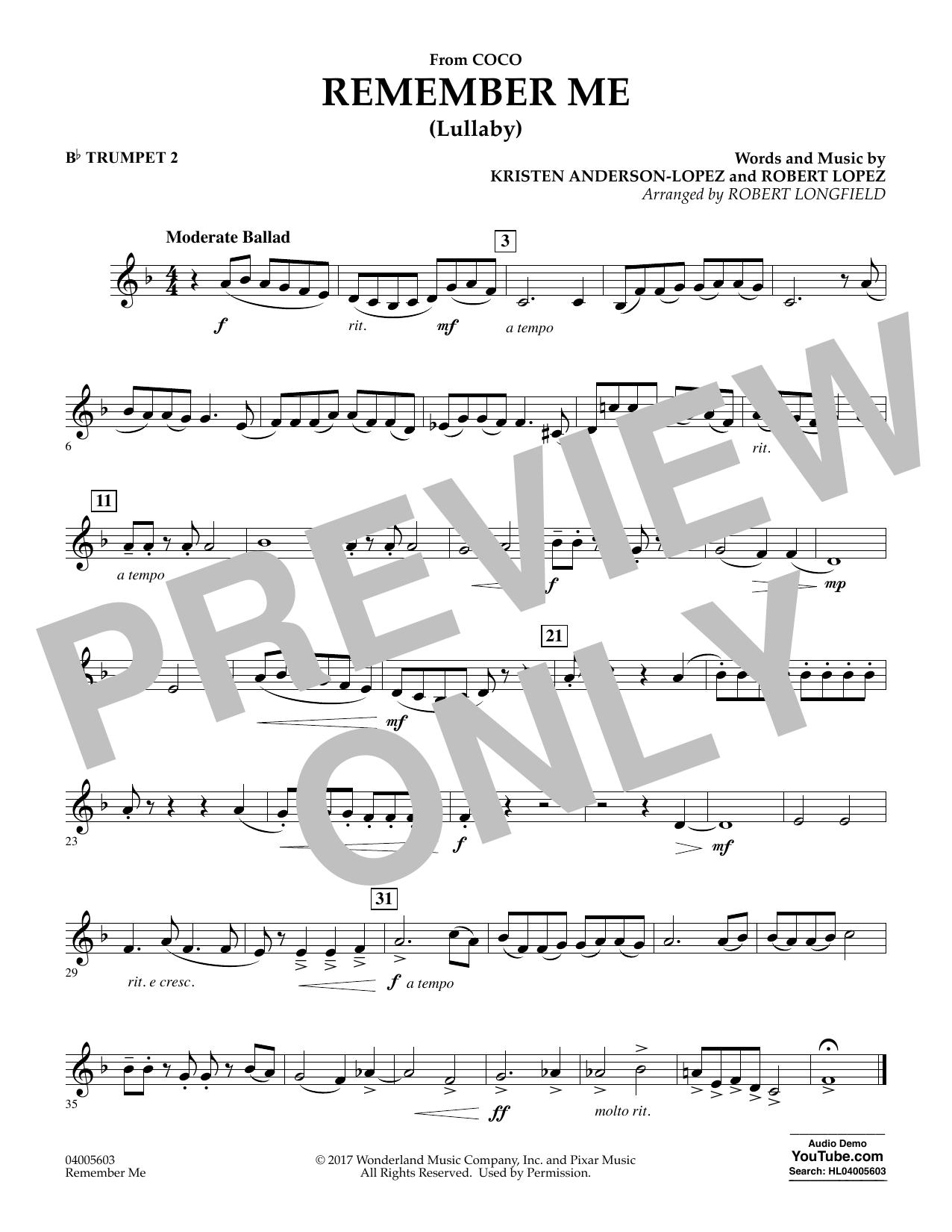 Remember Me - Bb Trumpet 2 (Concert Band)