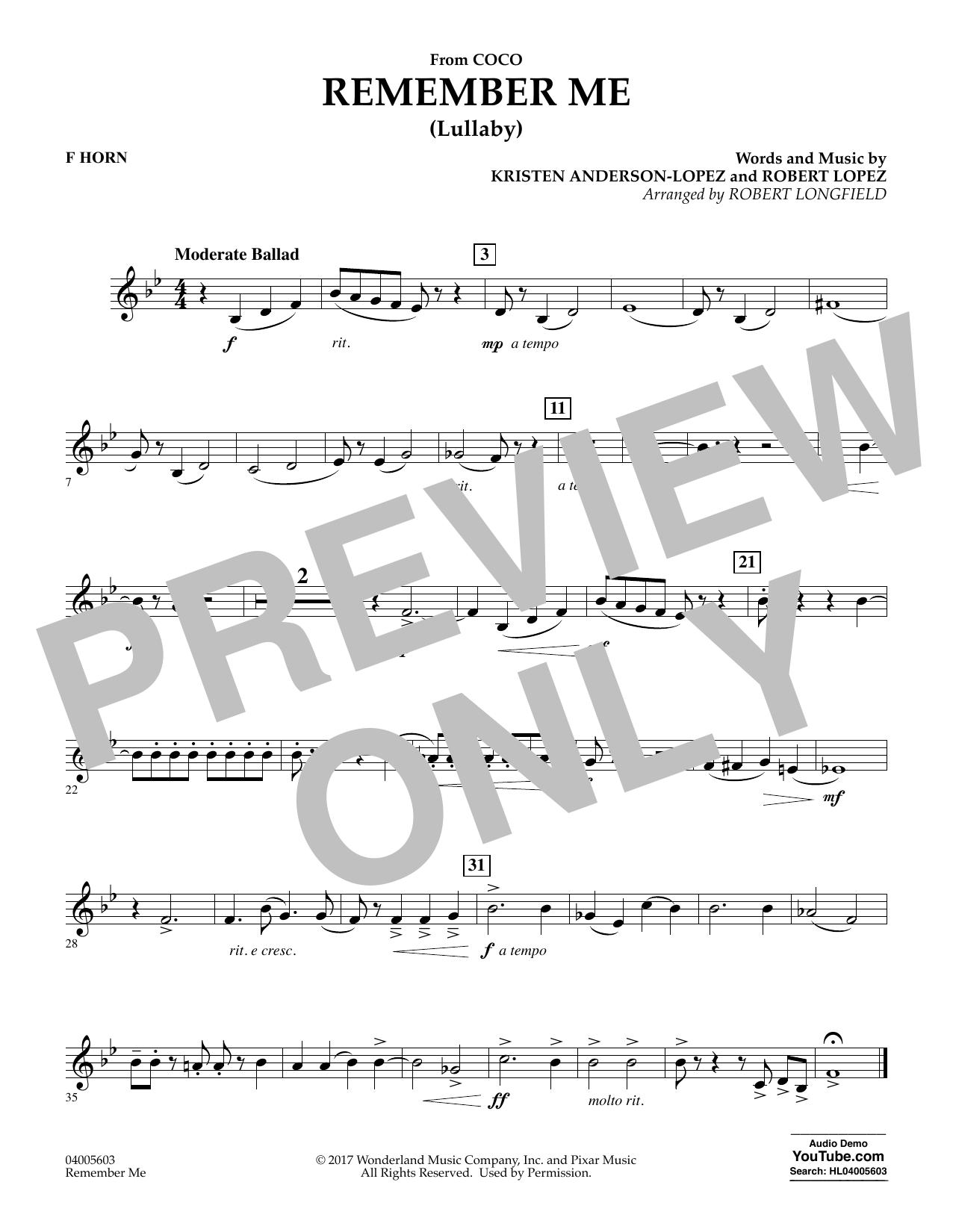Remember Me - F Horn (Concert Band)