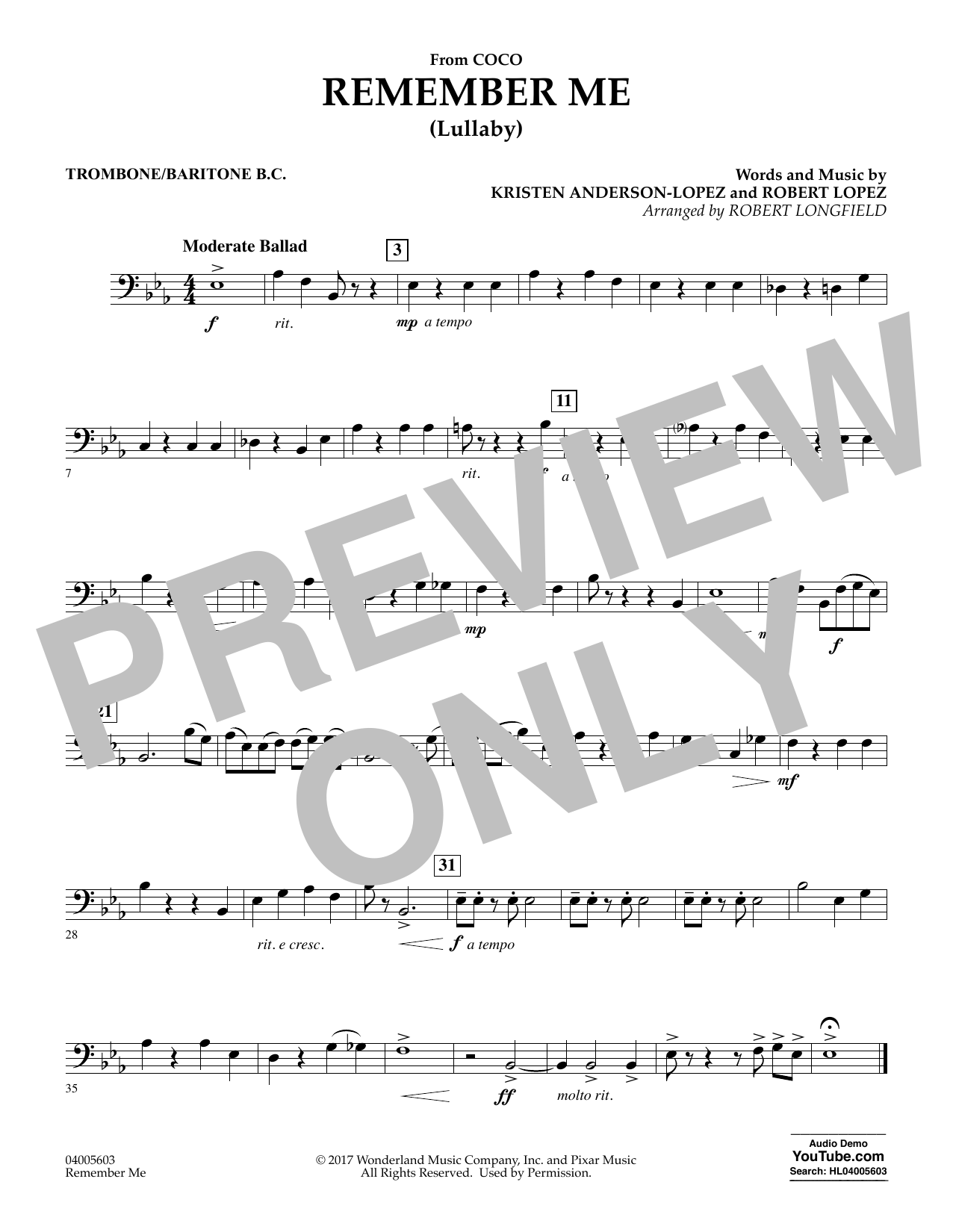 Remember Me - Trombone/Baritone B.C. (Concert Band)