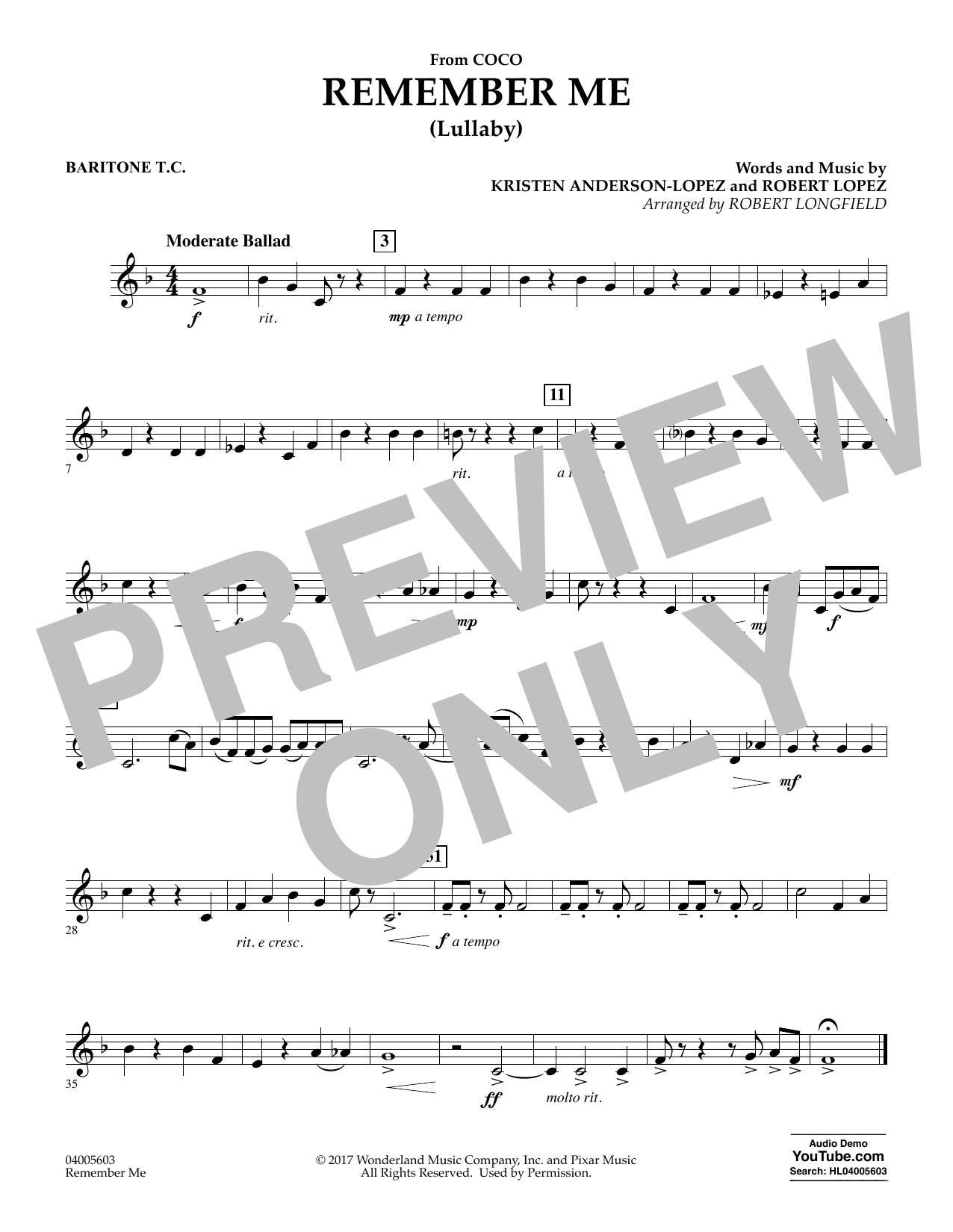 Remember Me - Baritone T.C. (Concert Band)