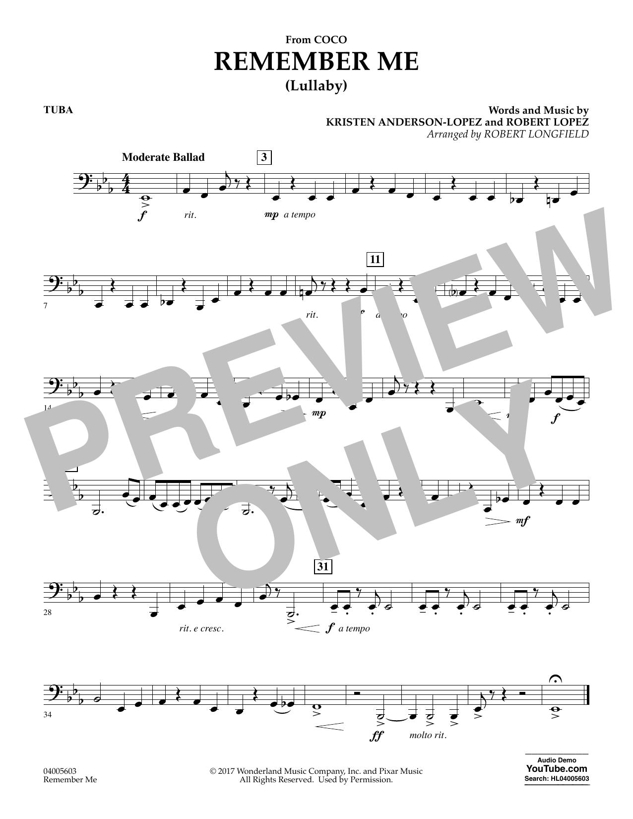 Remember Me - Tuba (Concert Band)