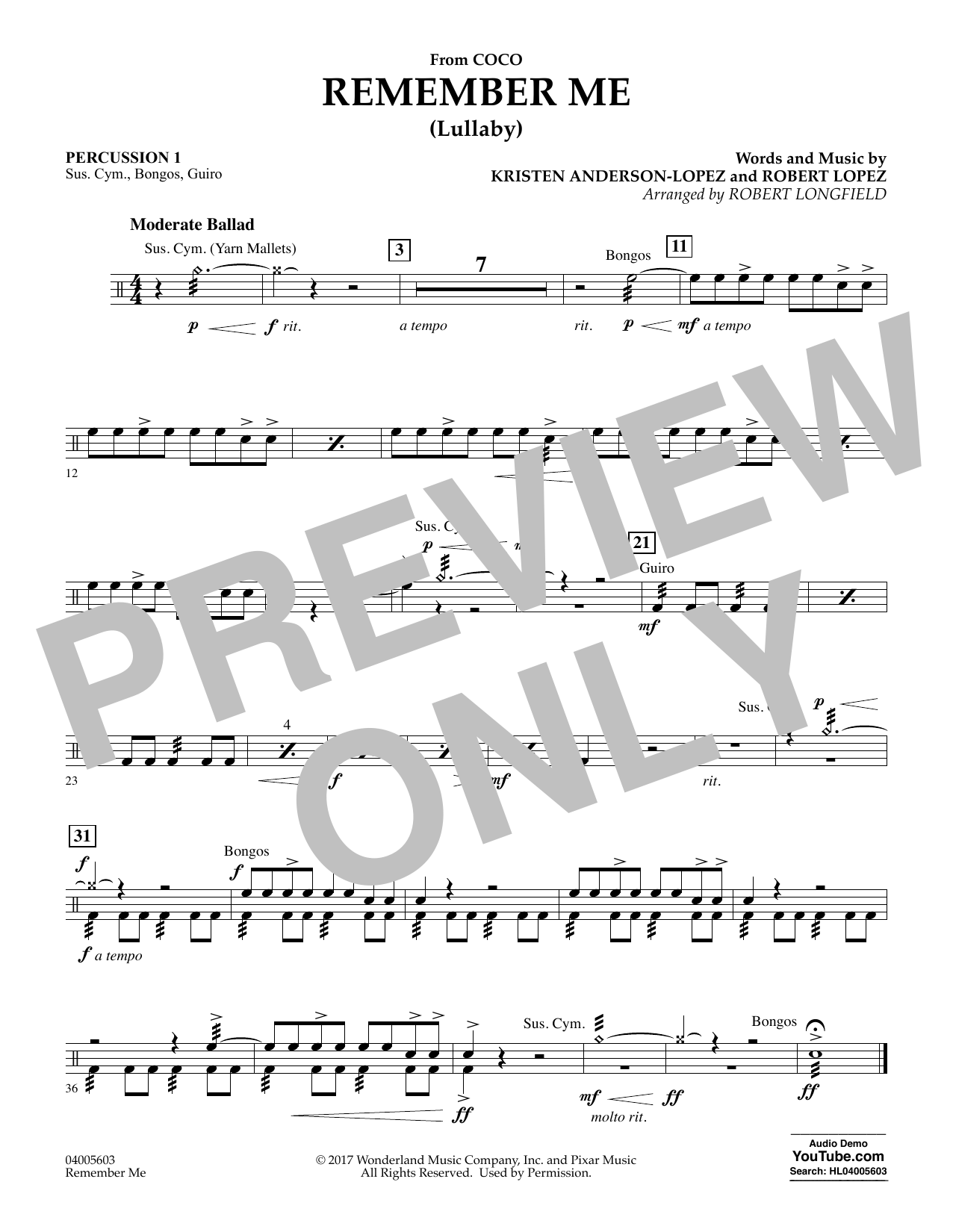 Remember Me - Percussion 1 (Concert Band)