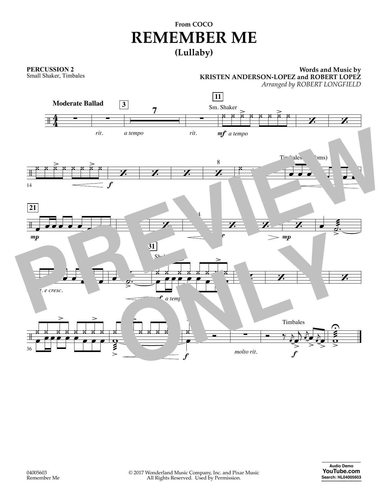 Remember Me - Percussion 2 (Concert Band)