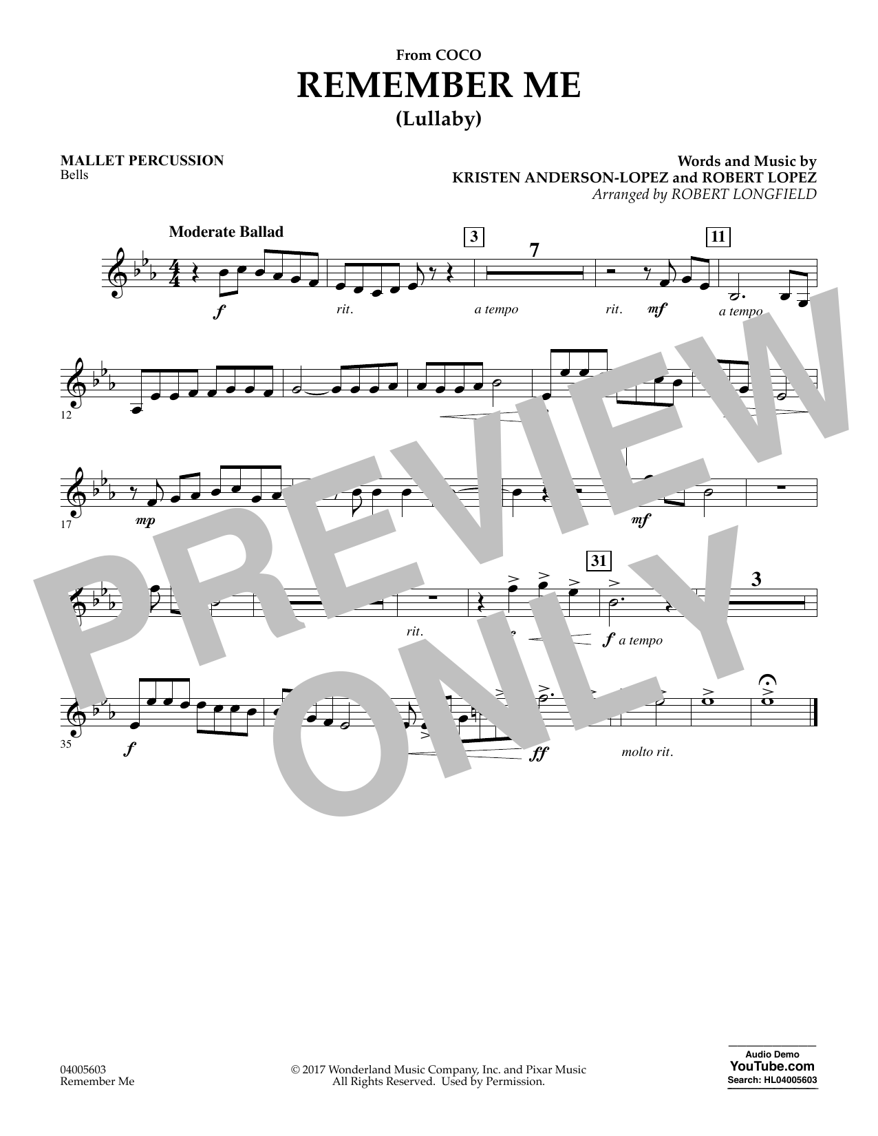 Remember Me - Mallet Percussion (Concert Band)
