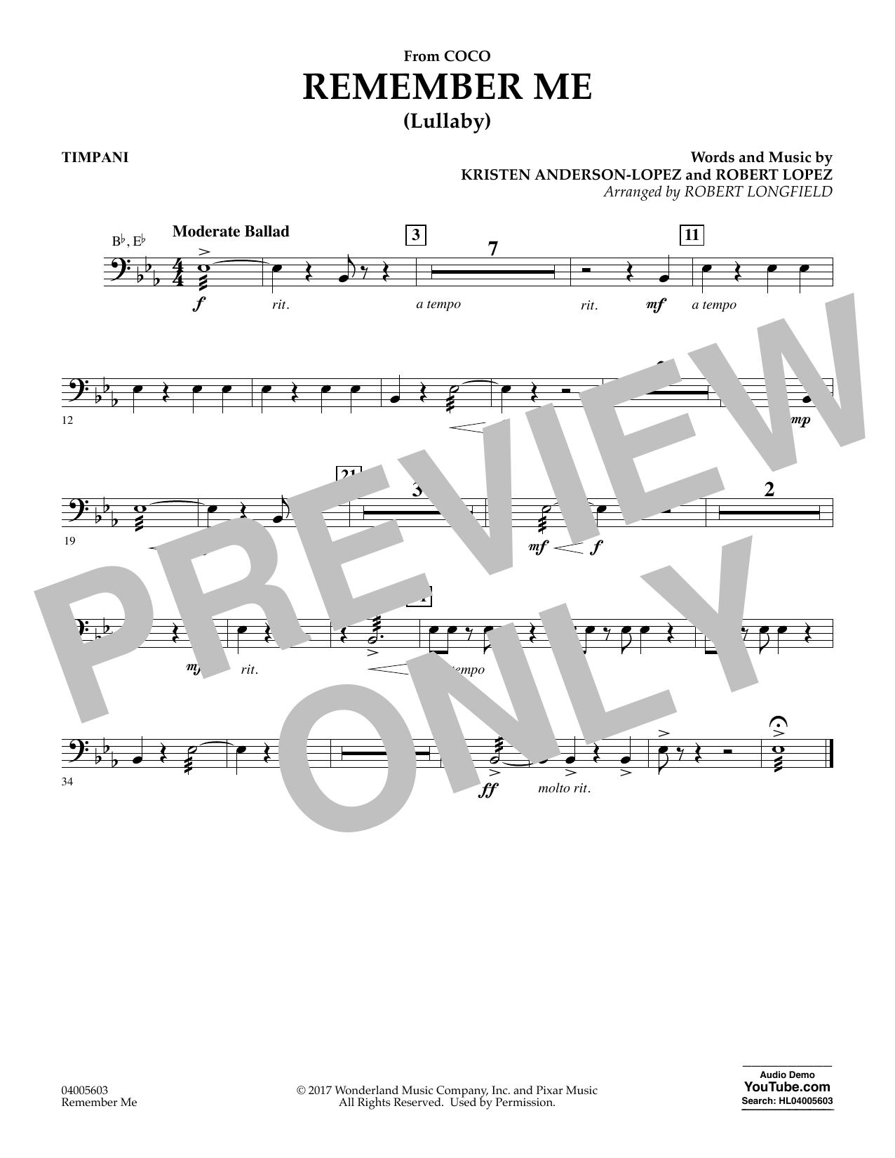 Remember Me - Timpani (Concert Band)