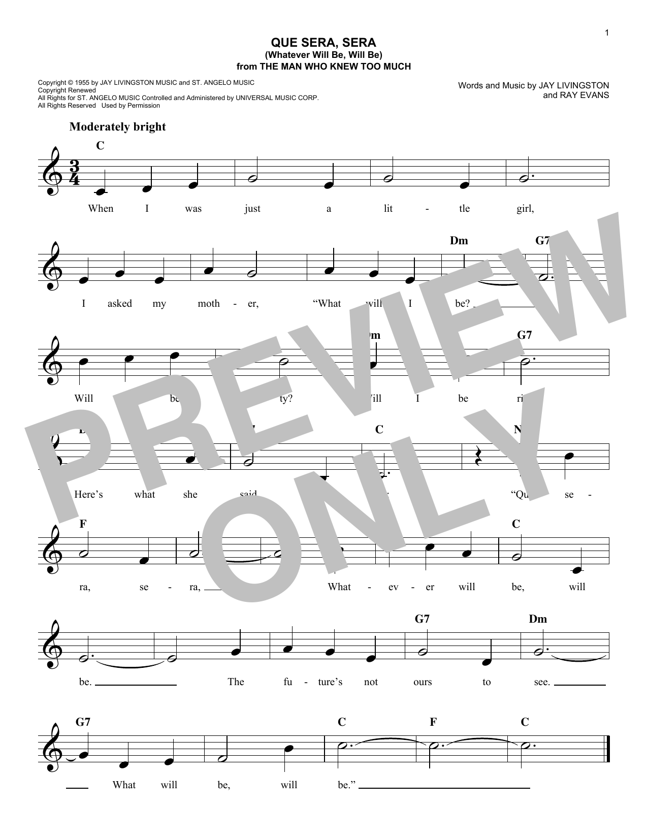 Que Sera, Sera (Whatever Will Be, Will Be) Sheet Music