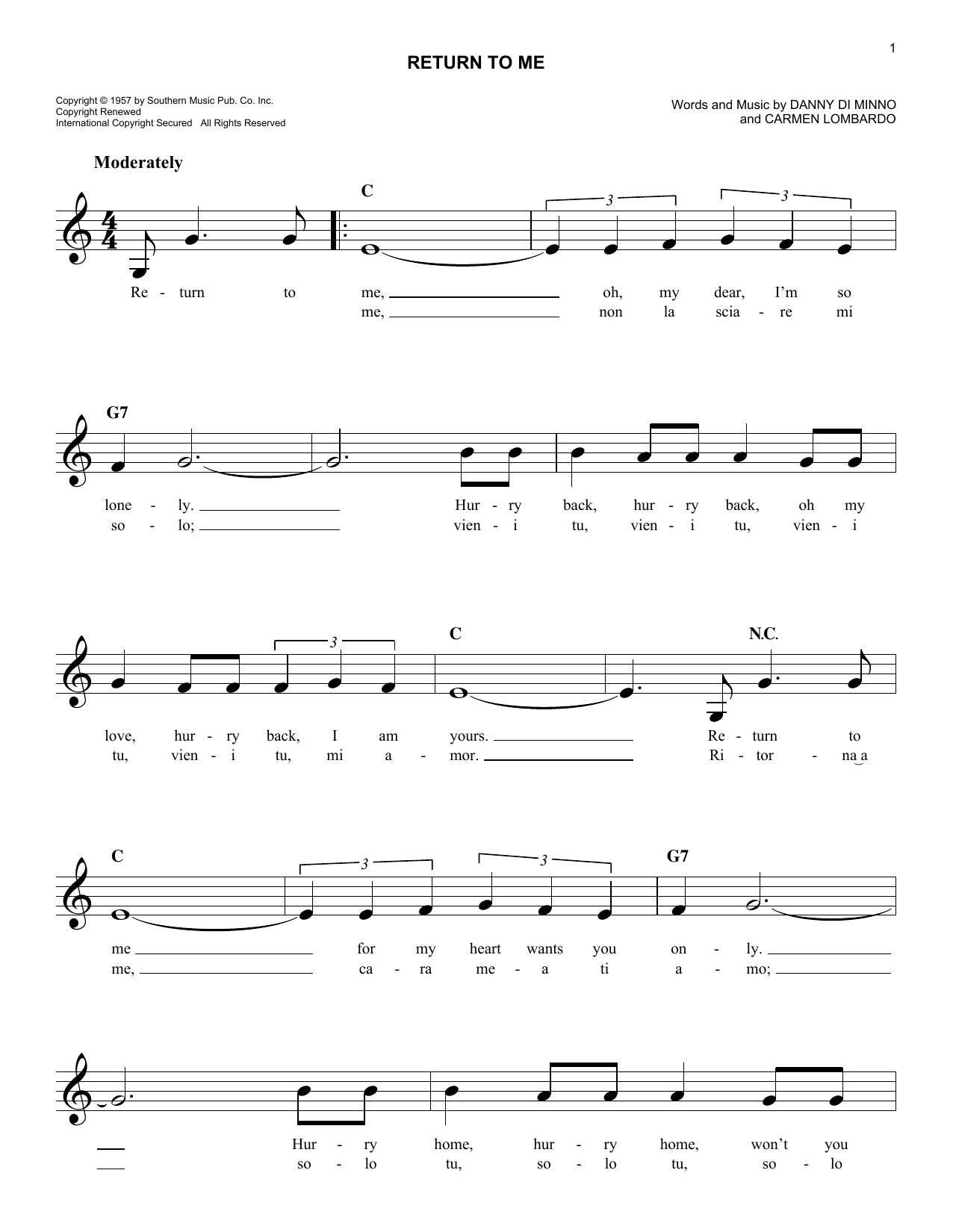 Return To Me (Lead Sheet / Fake Book)