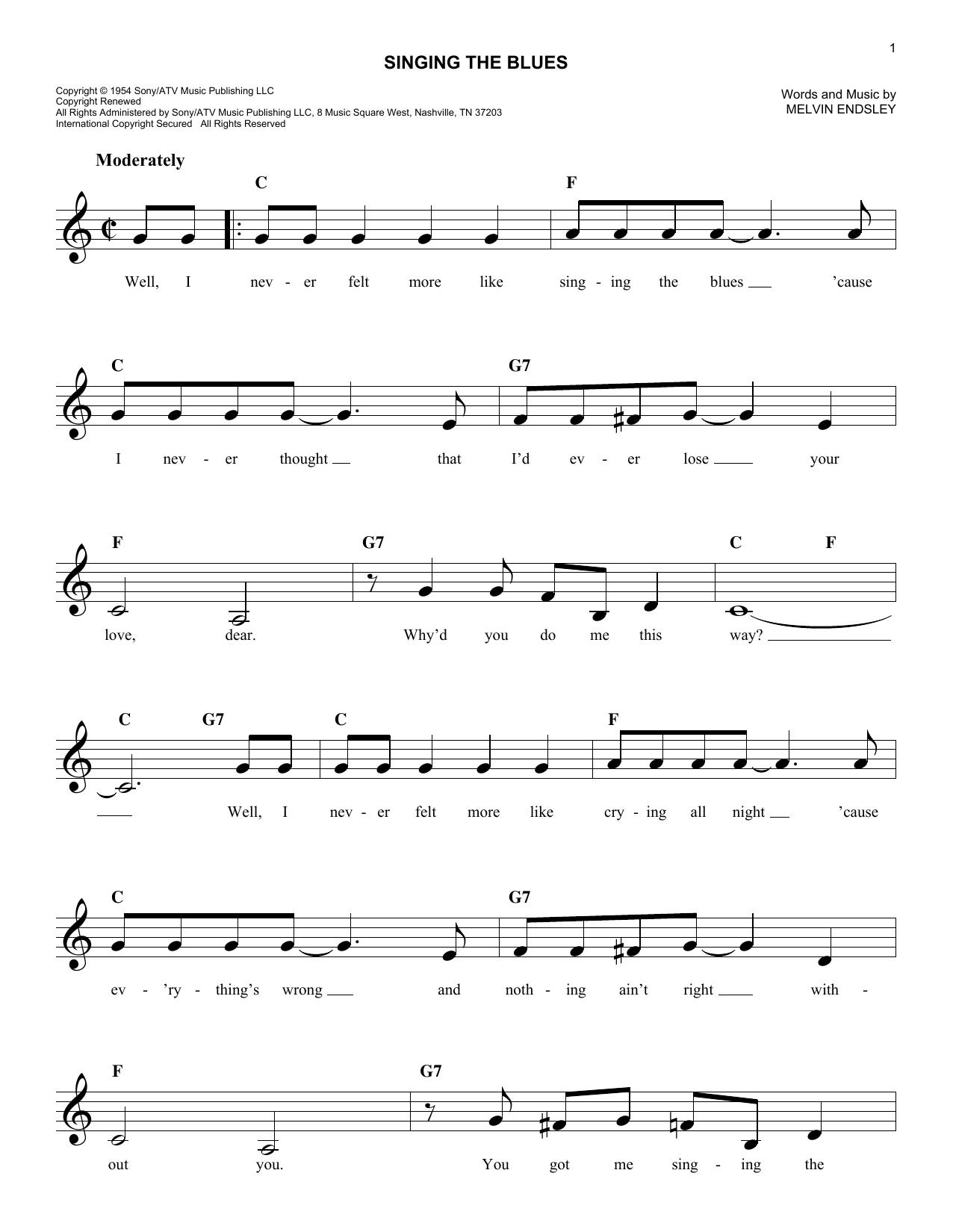 Singing The Blues Sheet Music