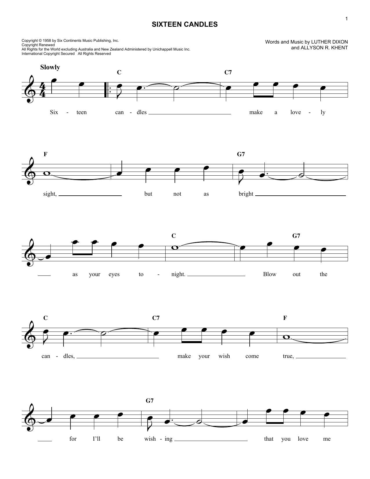 Sixteen Candles (Lead Sheet / Fake Book)