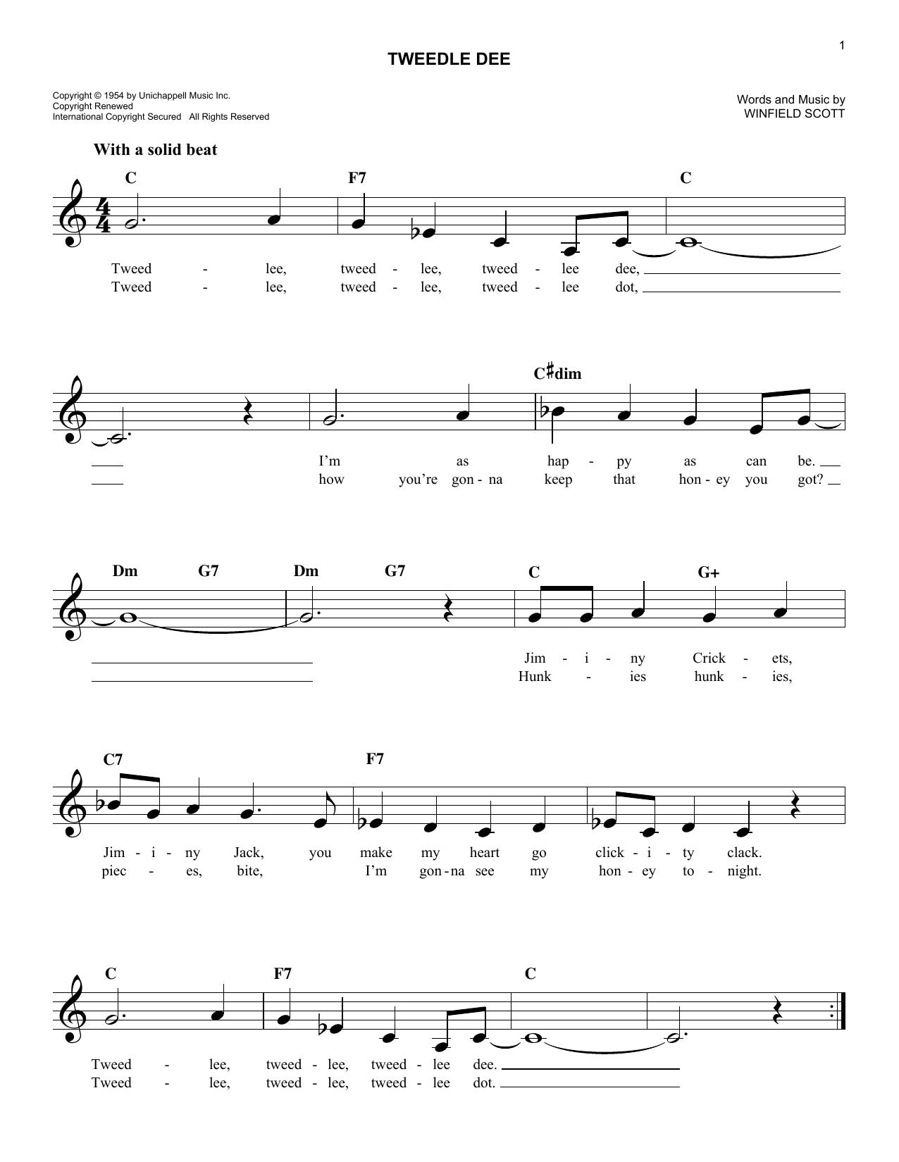 Tweedle Dee Sheet Music