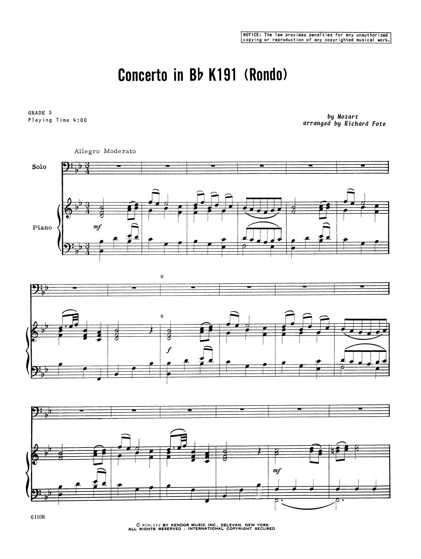 Concerto In Bb K191 (Rondo) - Piano Accompaniment by Richard Fote Brass  Solo Digital Sheet Music