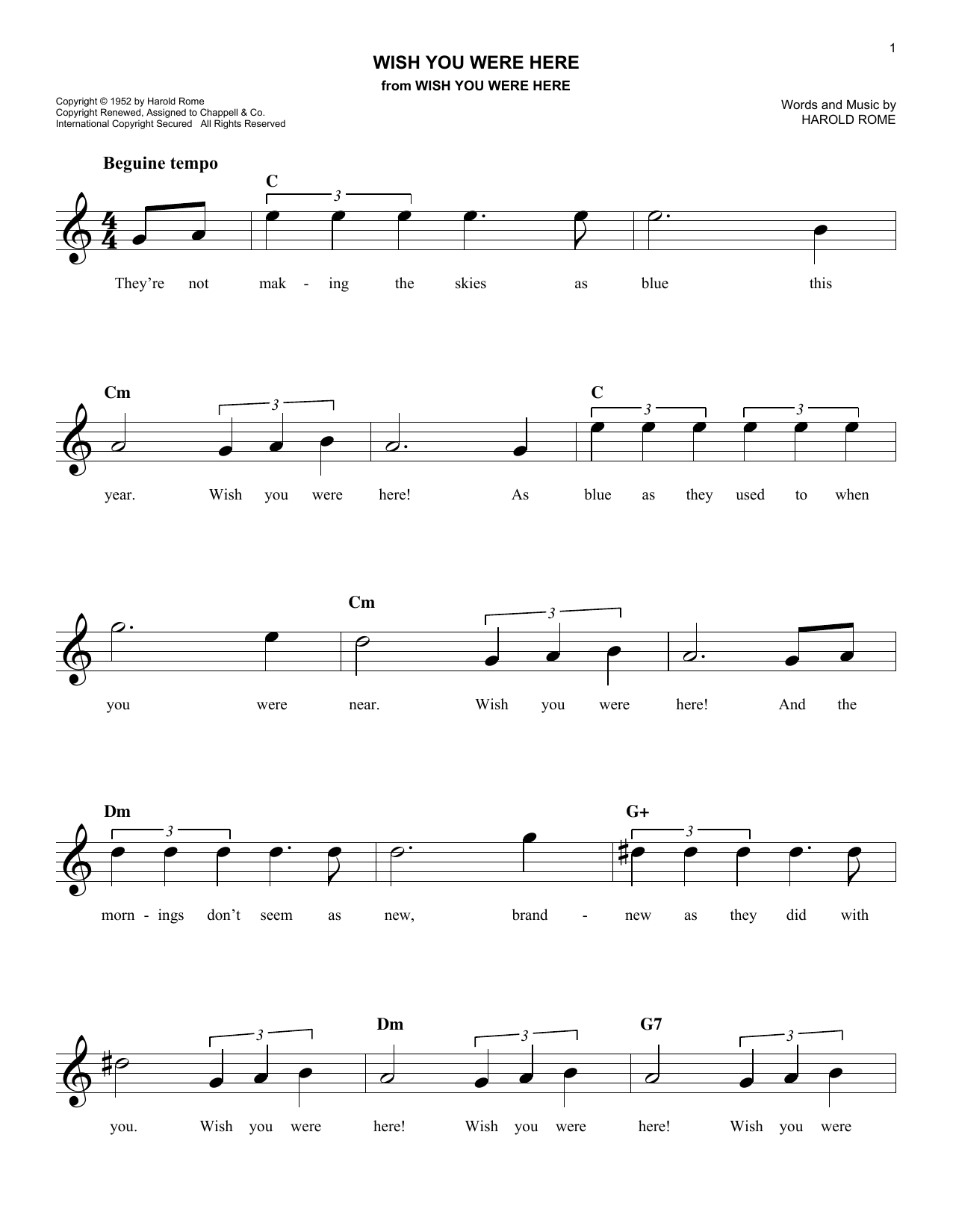 Wish you were here chords by harold rome melody line lyrics harold rome wish you were here melody line lyrics chords hexwebz Gallery