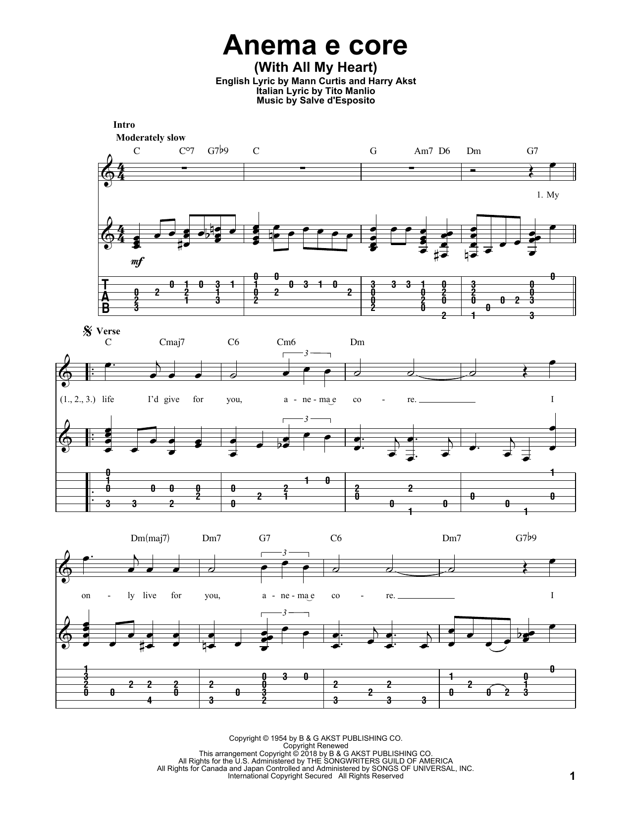 Anema E Core (With All My Heart) Sheet Music