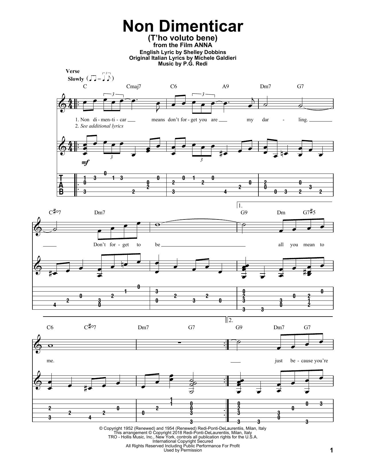 Non Dimenticar (T'ho Voluto Bene) (Solo Guitar Tab)