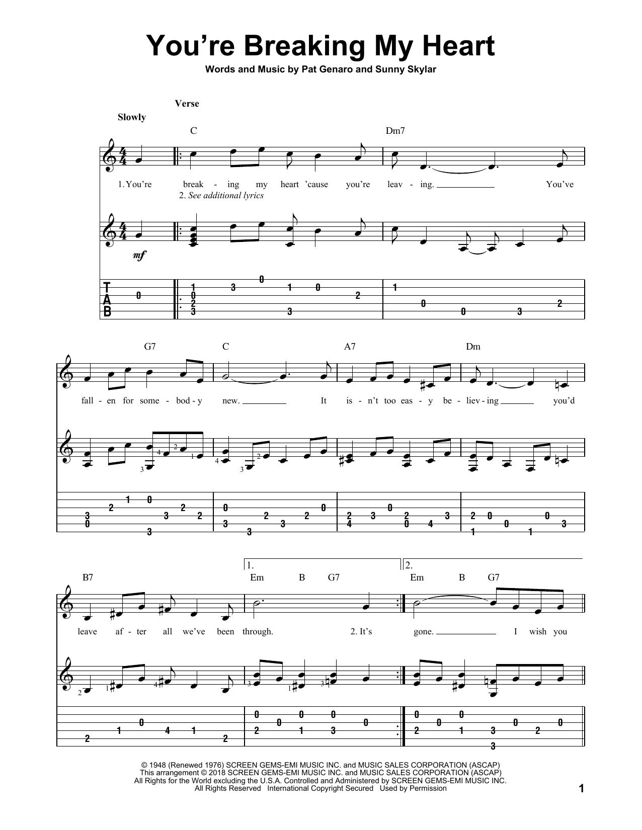 You're Breaking My Heart (Solo Guitar Tab)