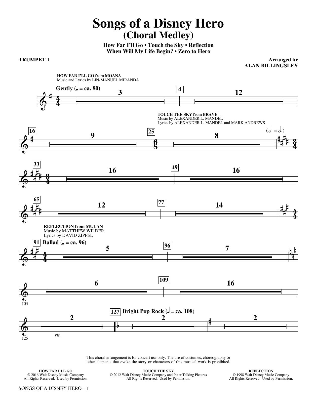 Songs of a Disney Hero - Trumpet 1 (Choir Instrumental Pak)