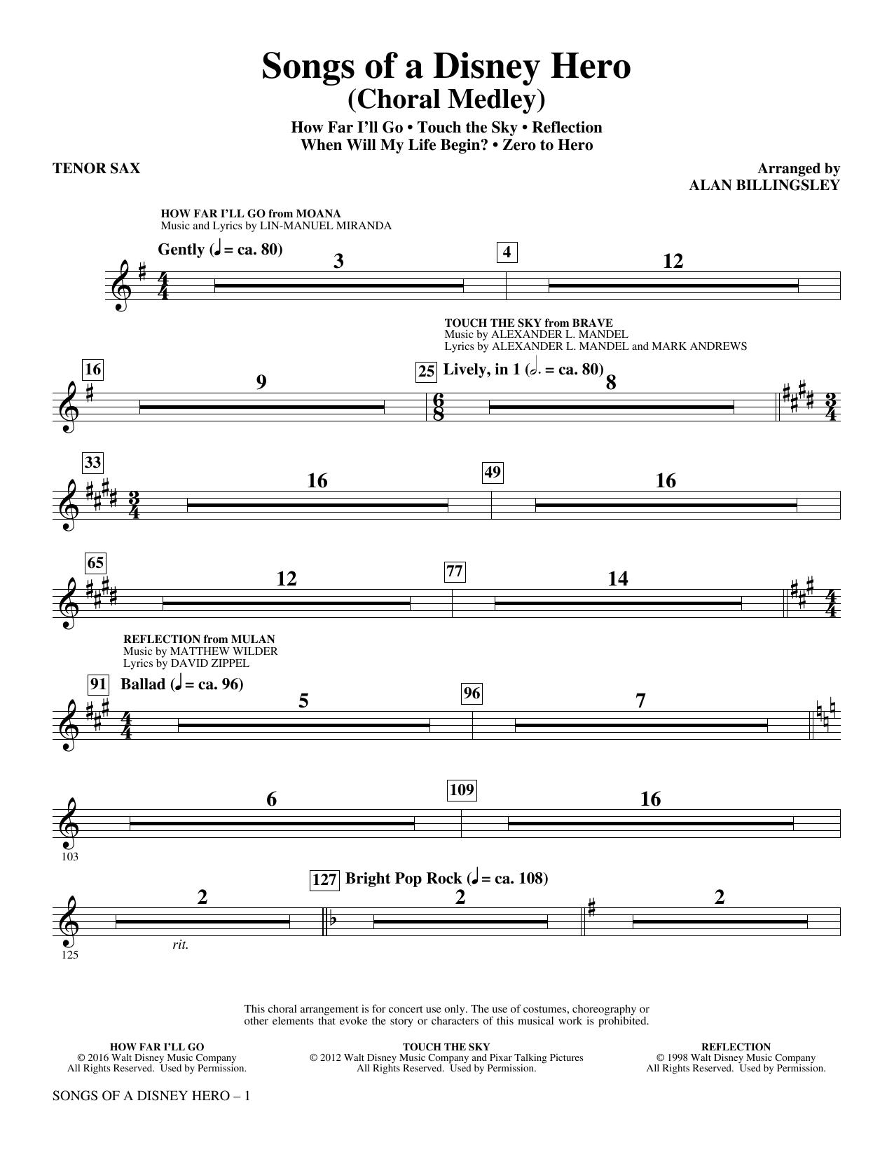 Songs of a Disney Hero - Tenor Saxophone (Choir Instrumental Pak)