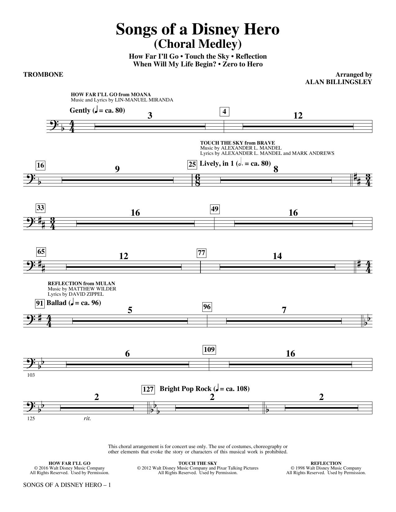 Songs of a Disney Hero - Trombone (Choir Instrumental Pak)
