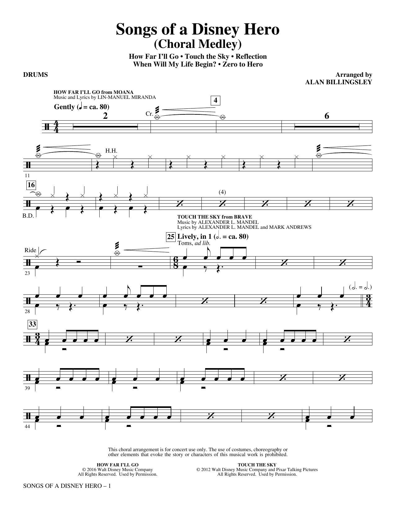 Songs of a Disney Hero - Drums (Choir Instrumental Pak)