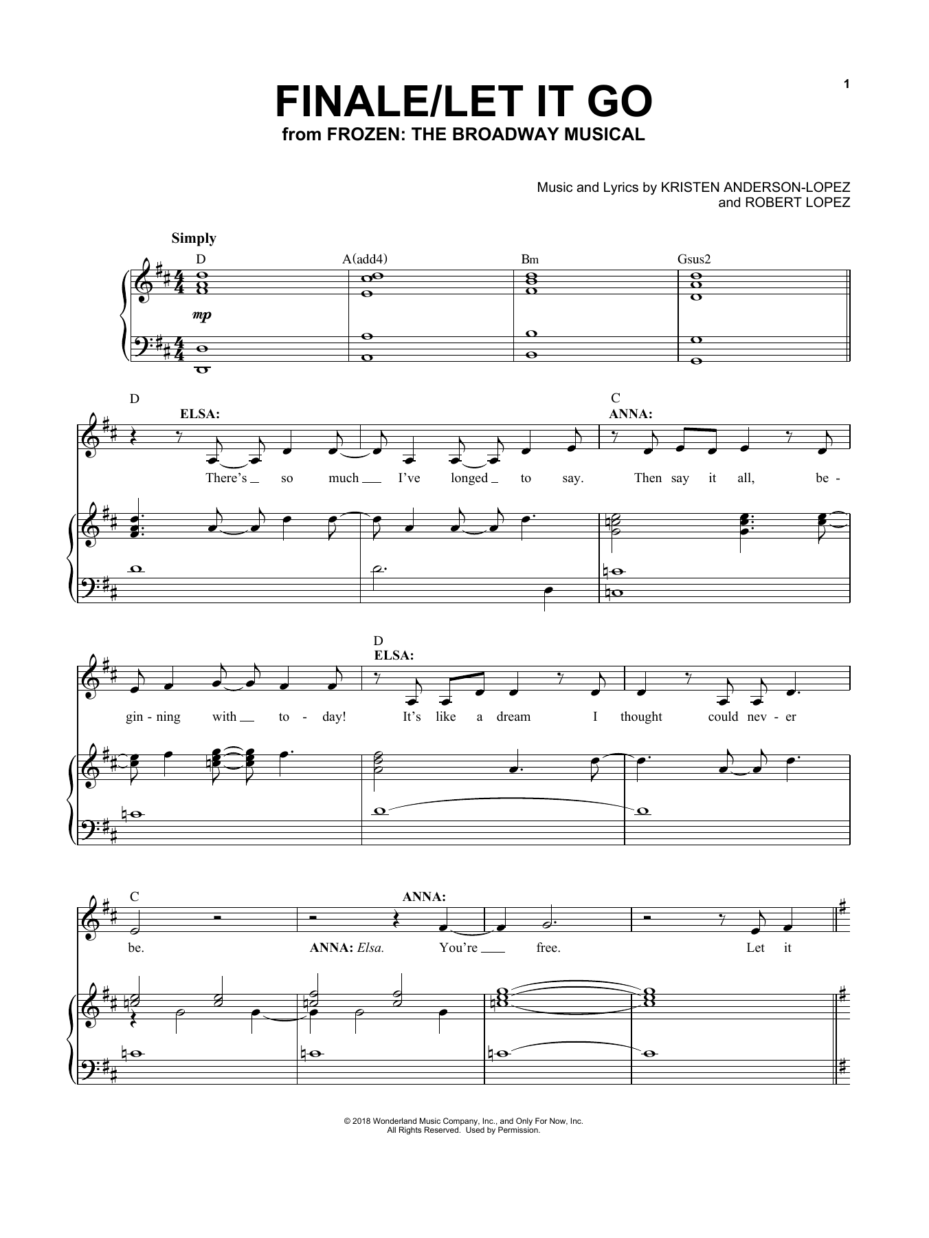 Finale / Let It Go (from Frozen: The Broadway Musical) (Piano & Vocal)