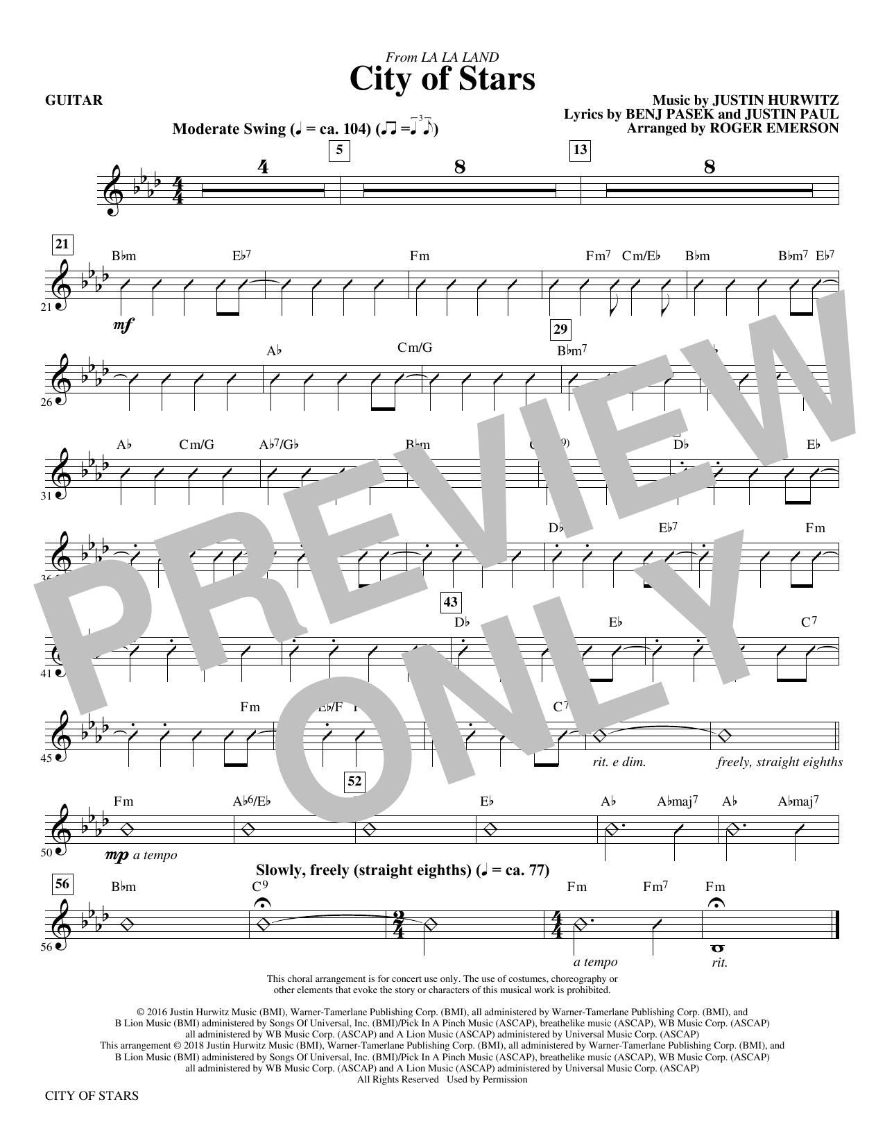 City Of Stars (arr. Roger Emerson) - Guitar (Choir Instrumental Pak)