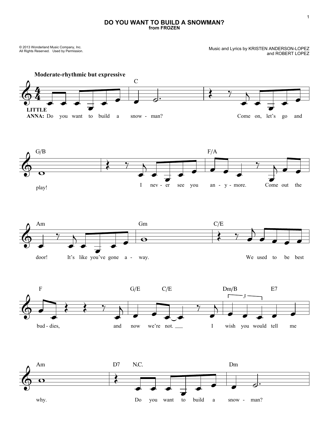 Do You Want To Build A Snowman? (from Frozen) (Lead Sheet / Fake Book)