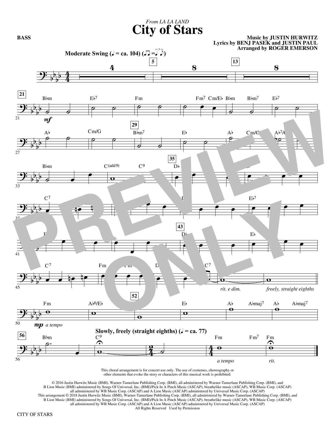 City Of Stars (arr. Roger Emerson) - Bass (Choir Instrumental Pak)