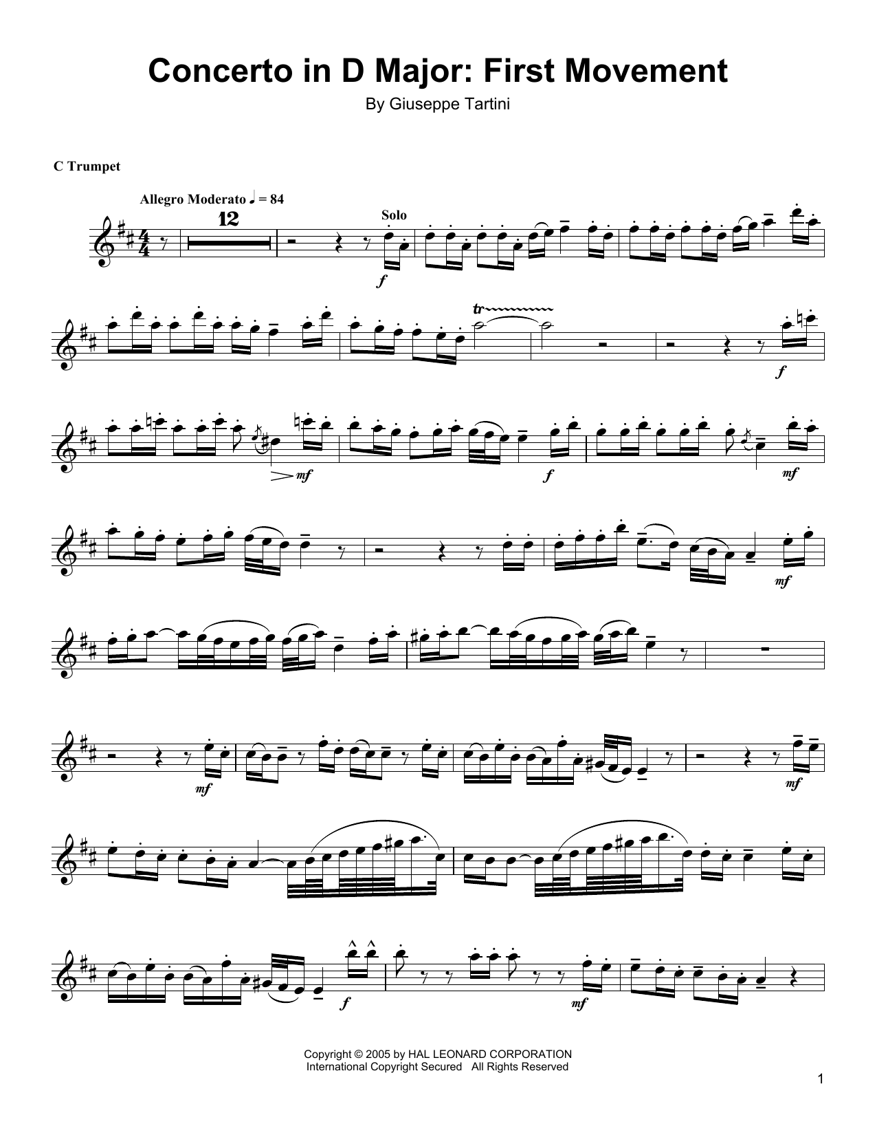 Concerto In D Major: First Movement Sheet Music