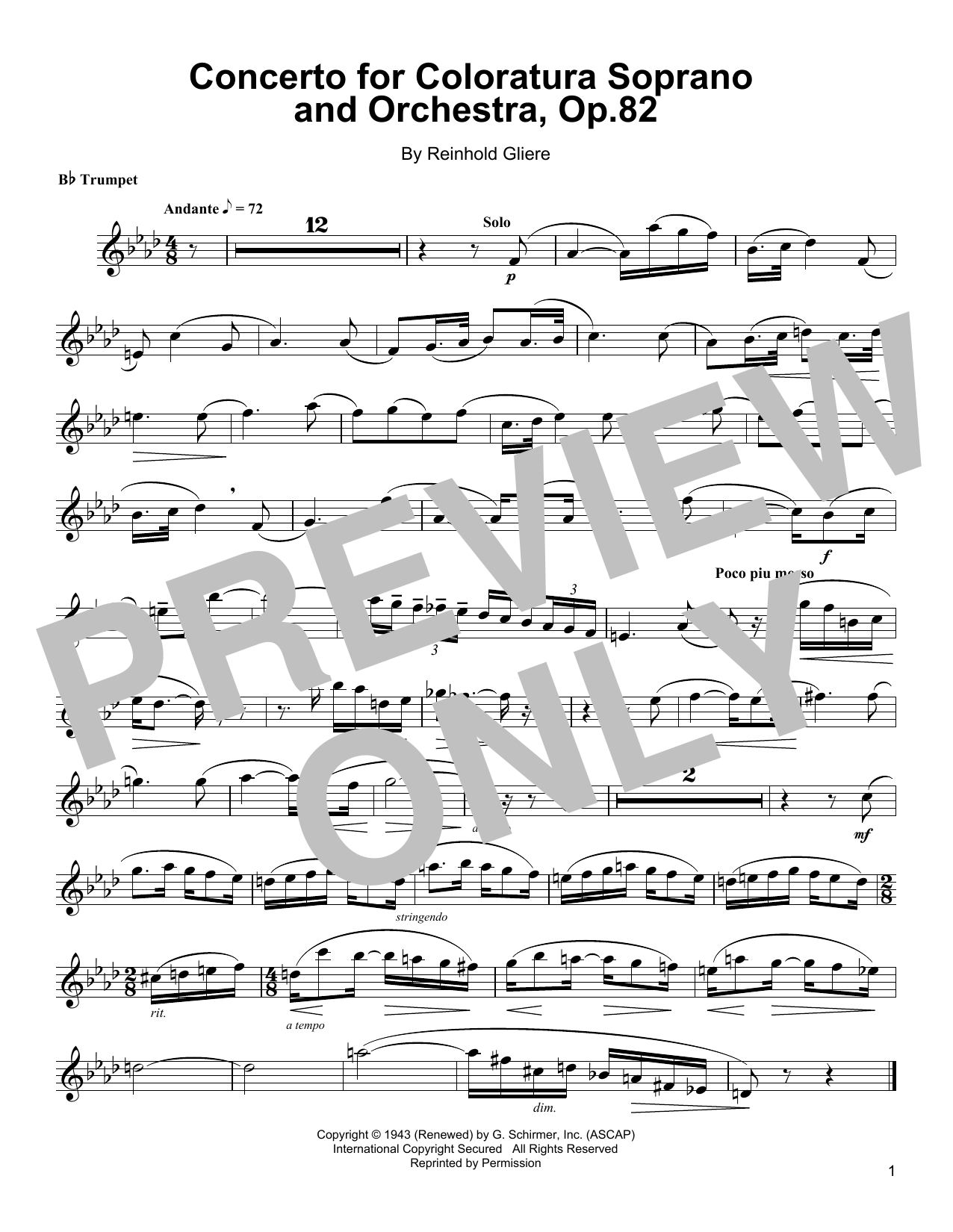 Concerto For Coloratura Soprano And Orchestra, Op. 82 Sheet Music