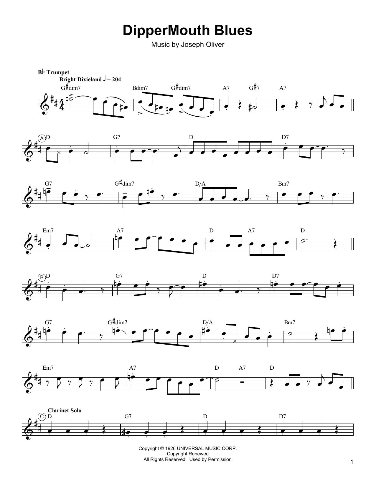 Dippermouth Blues Sheet Music