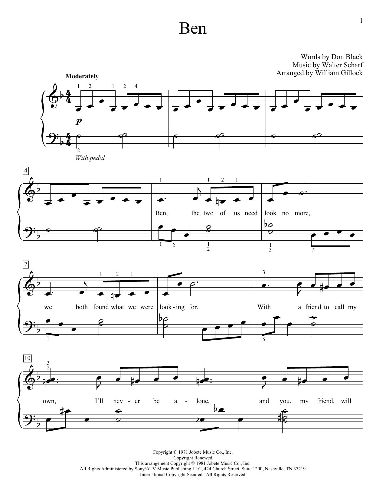 Ben Sheet Music