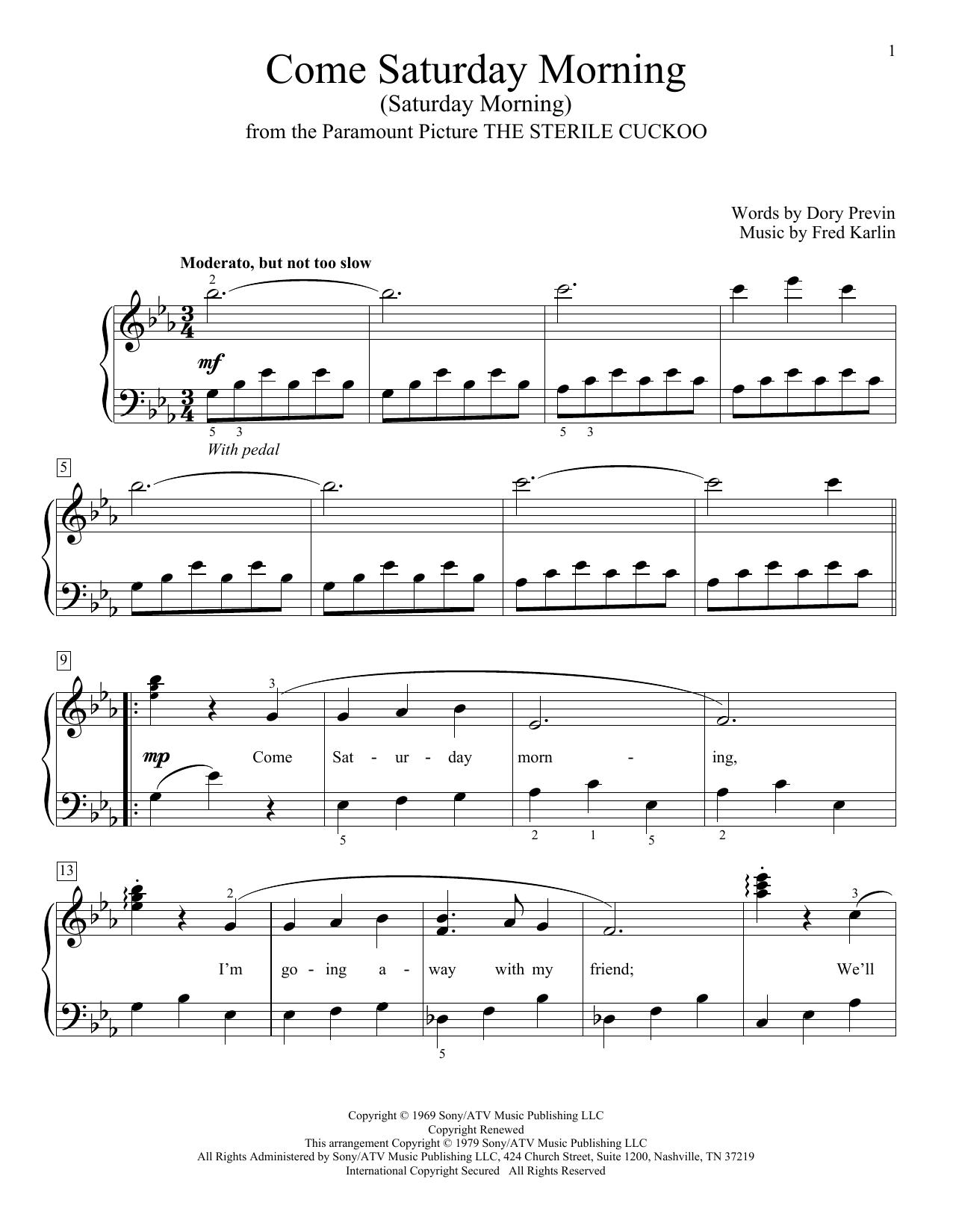 Come Saturday Morning (Saturday Morning) (Educational Piano)