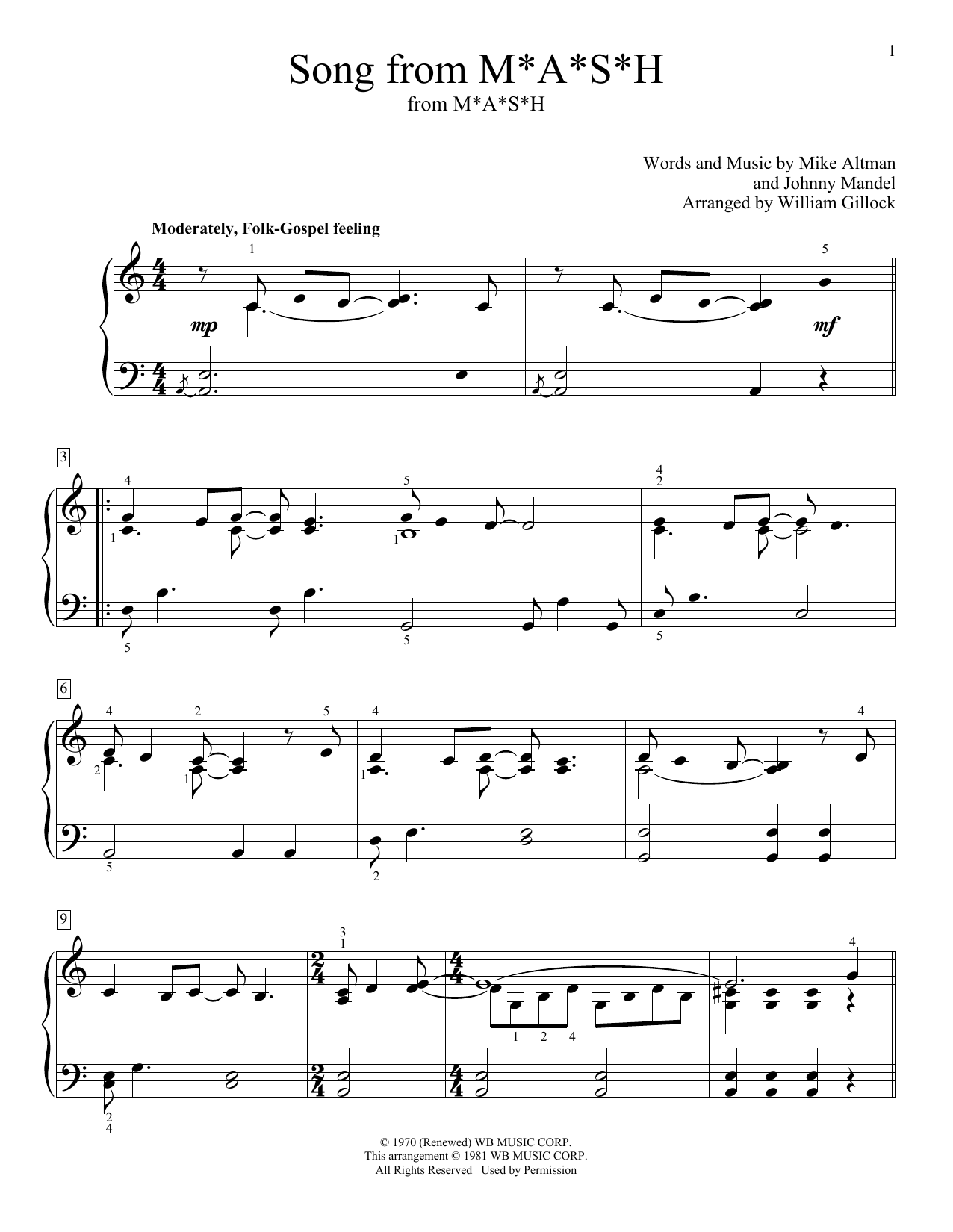 Song From M*A*S*H (Suicide Is Painless) Sheet Music