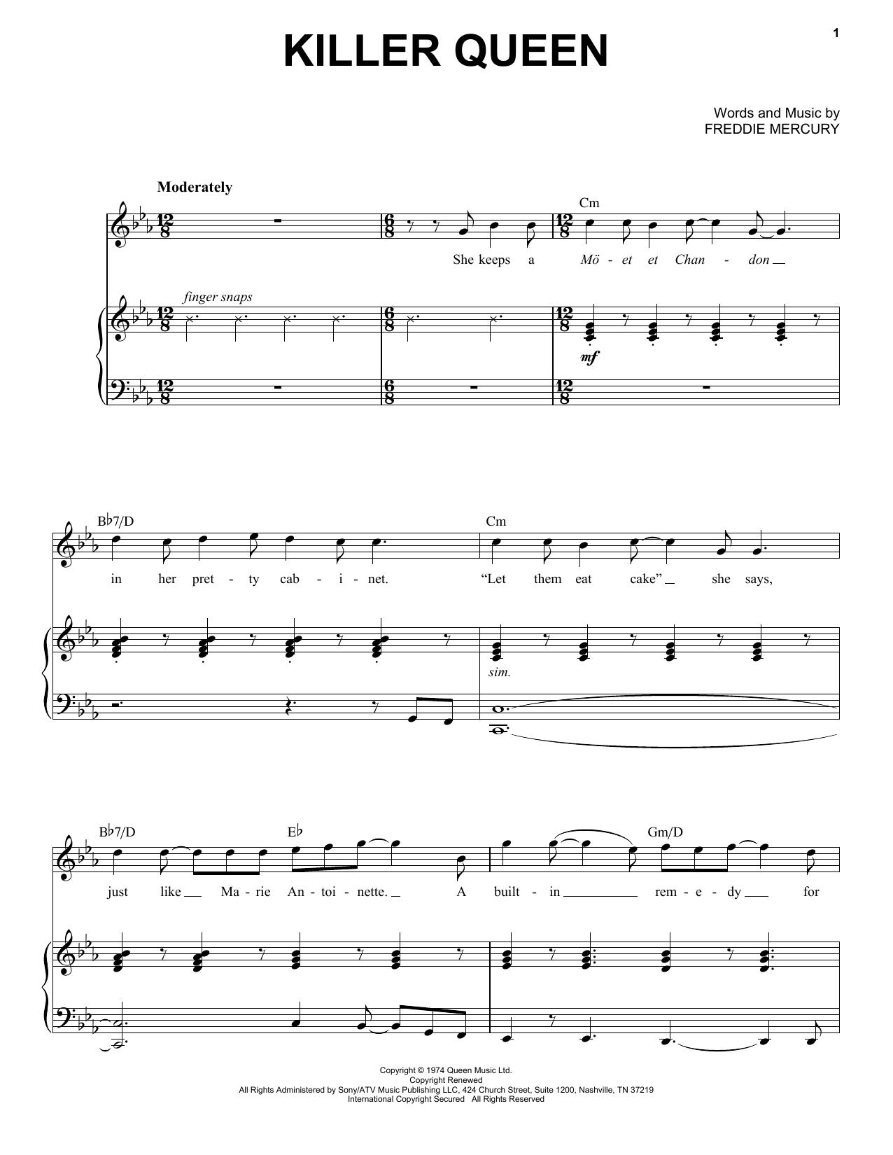 Killer Queen (Piano & Vocal) - Print Sheet Music Now