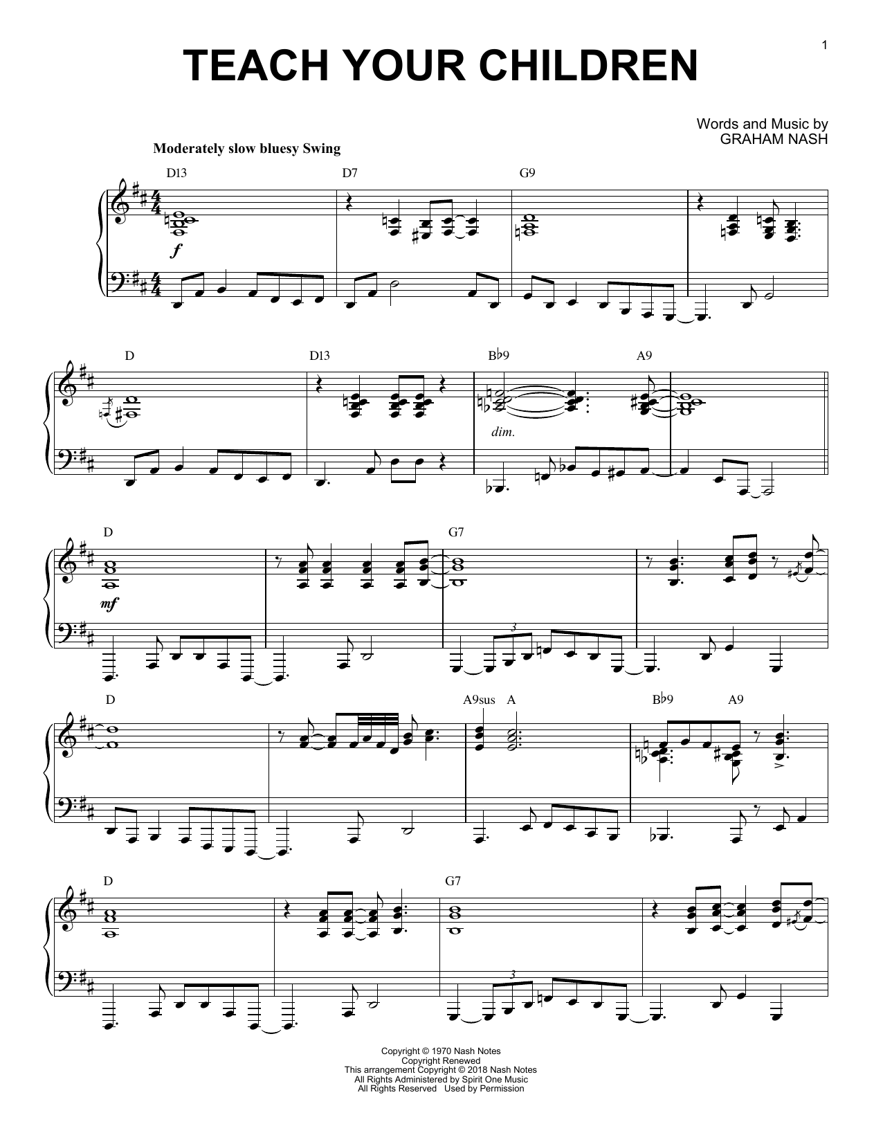 Teach Your Children [Jazz version] (Piano Solo)
