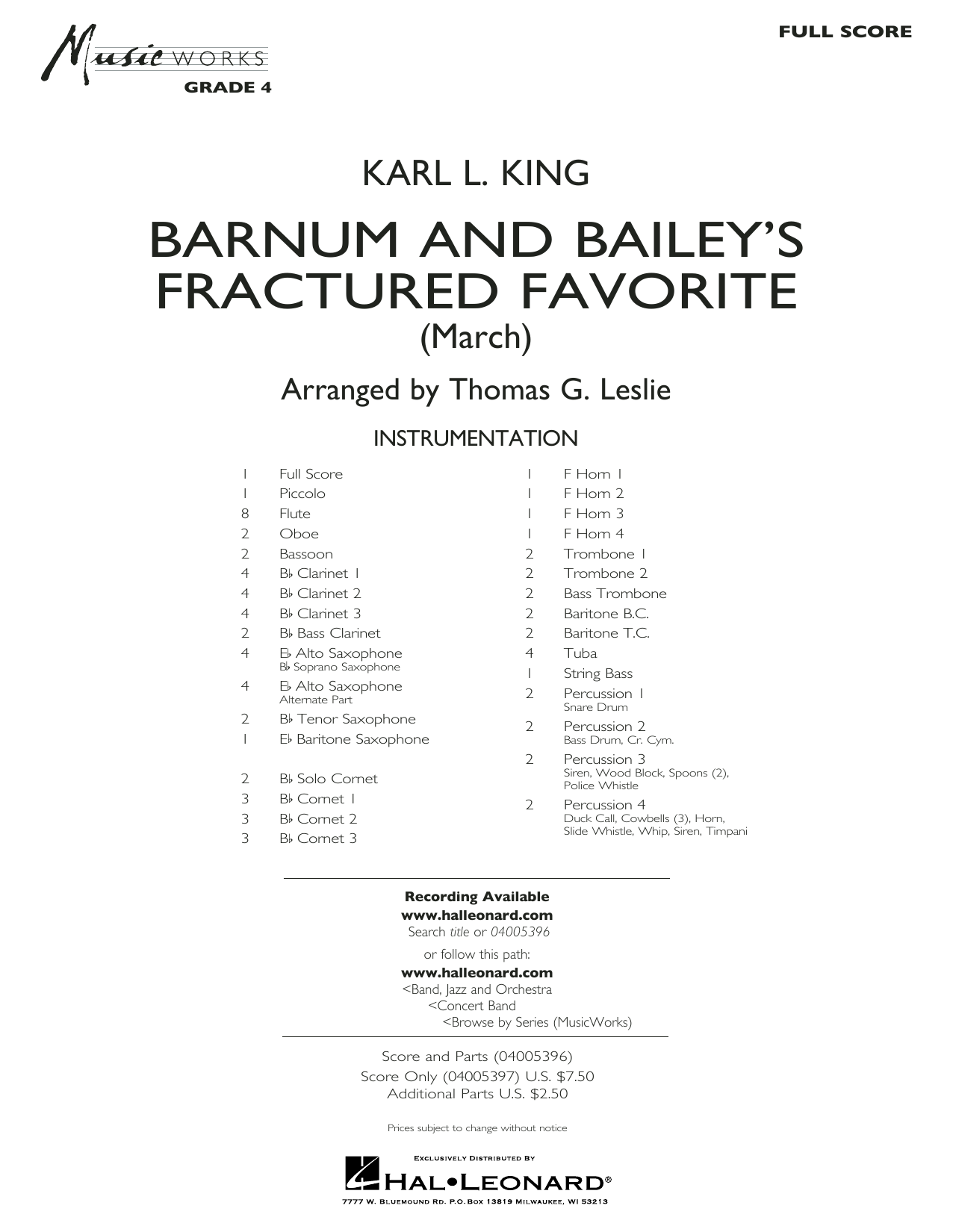 Barnum and Bailey's Fractured Favorite - Conductor Score (Full Score) (Concert Band)