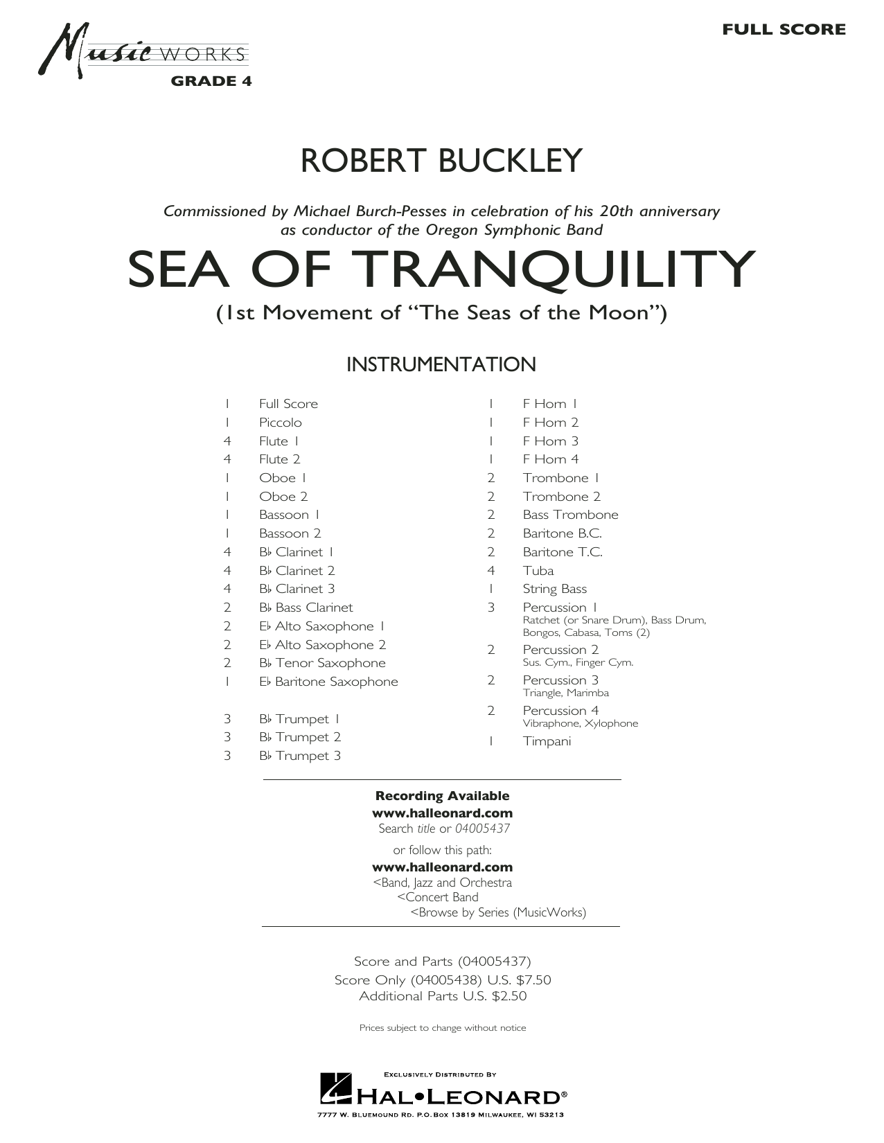 Sea of Tranquility - Conductor Score (Full Score) (Concert Band)