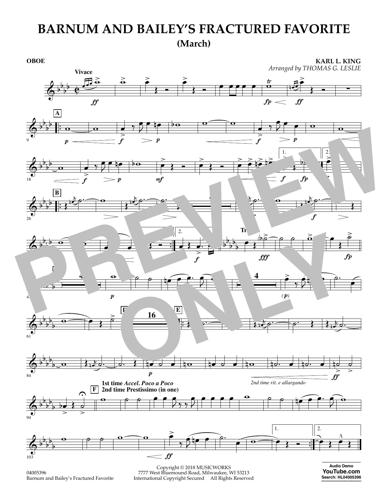 Barnum and Bailey's Fractured Favorite - Oboe (Concert Band)