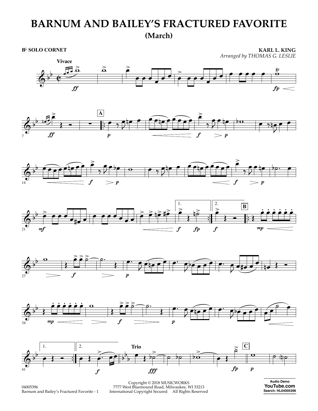 Barnum and Bailey's Fractured Favorite - Solo Bb Cornet (Concert Band)