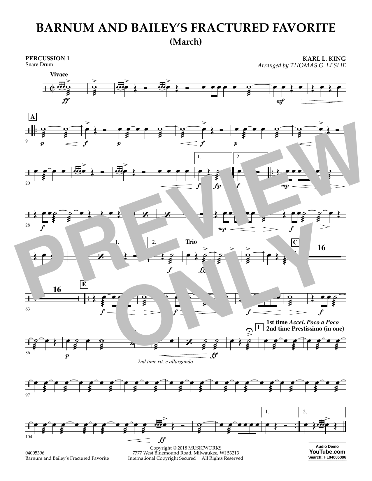 Barnum and Bailey's Fractured Favorite - Percussion 1 (Concert Band)