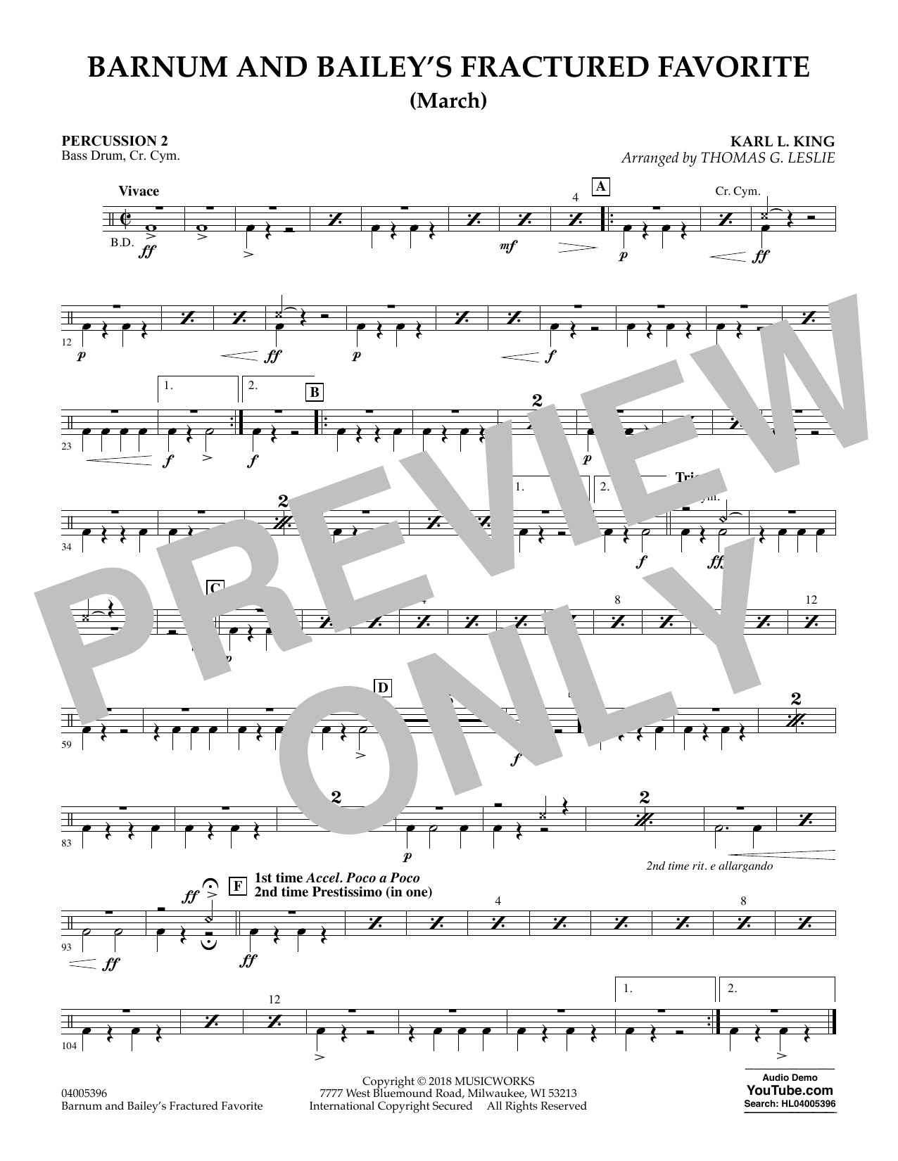 Barnum and Bailey's Fractured Favorite - Percussion 2 (Concert Band)